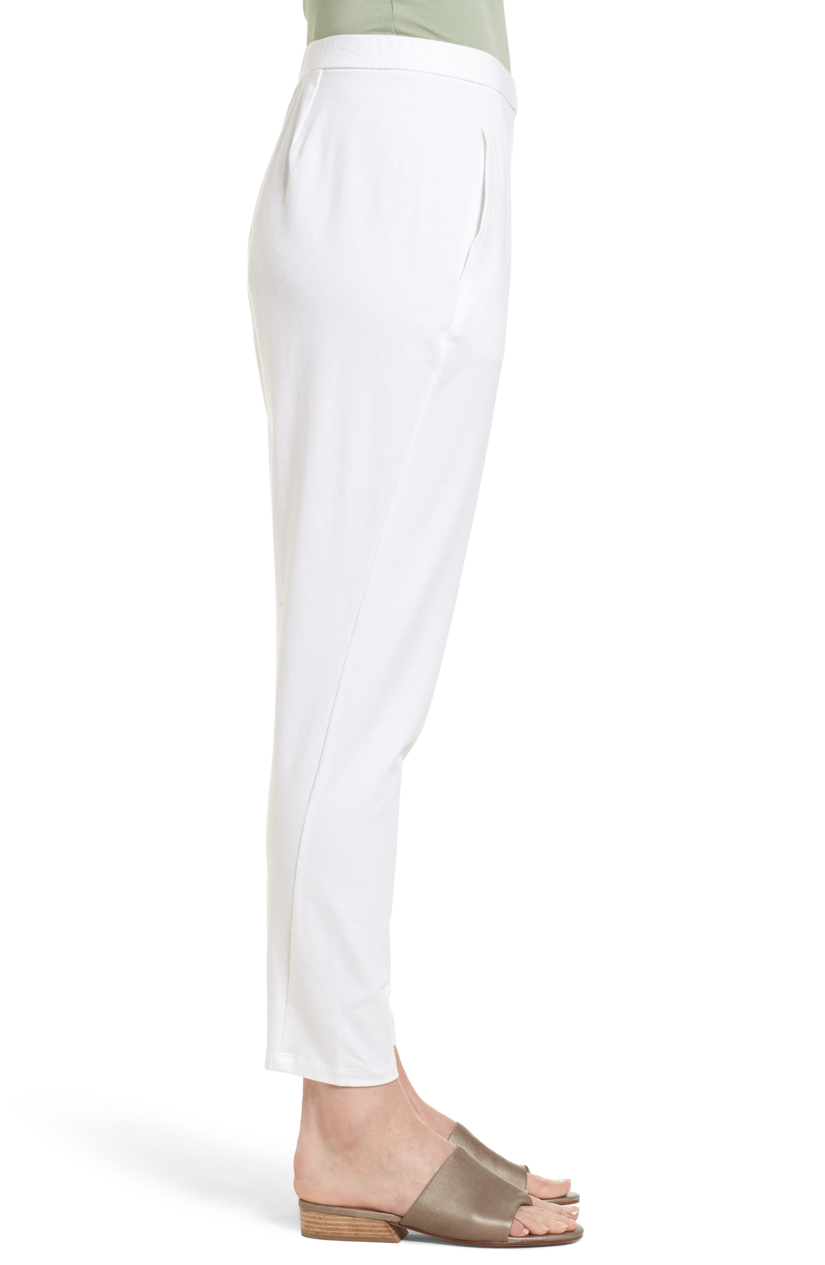 Stretch Organic Cotton Slim Slouchy Ankle Pants,                             Alternate thumbnail 3, color,                             White