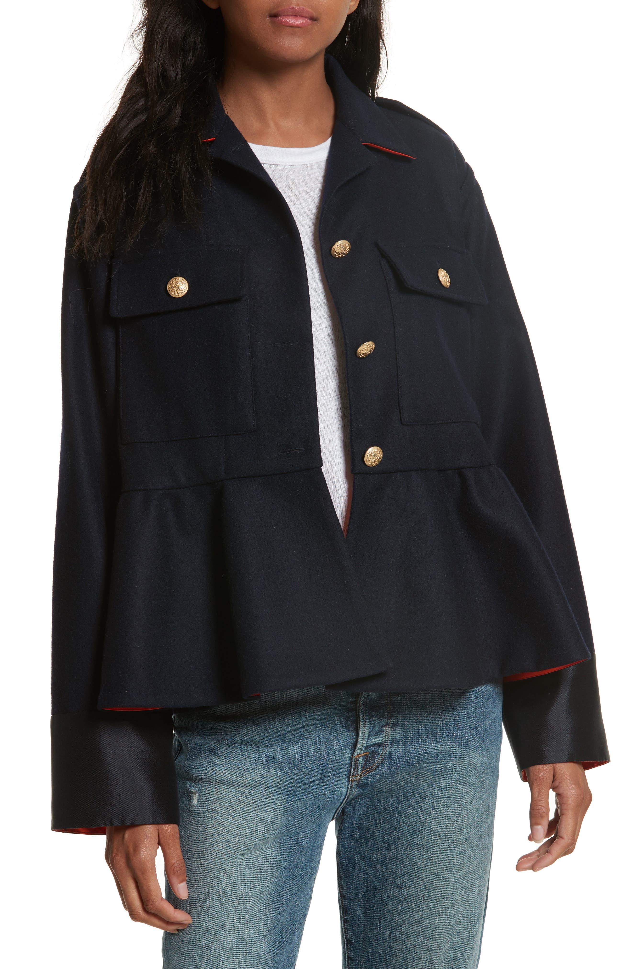 Harvey Faircloth Wool Blend Flannel Peplum Jacket