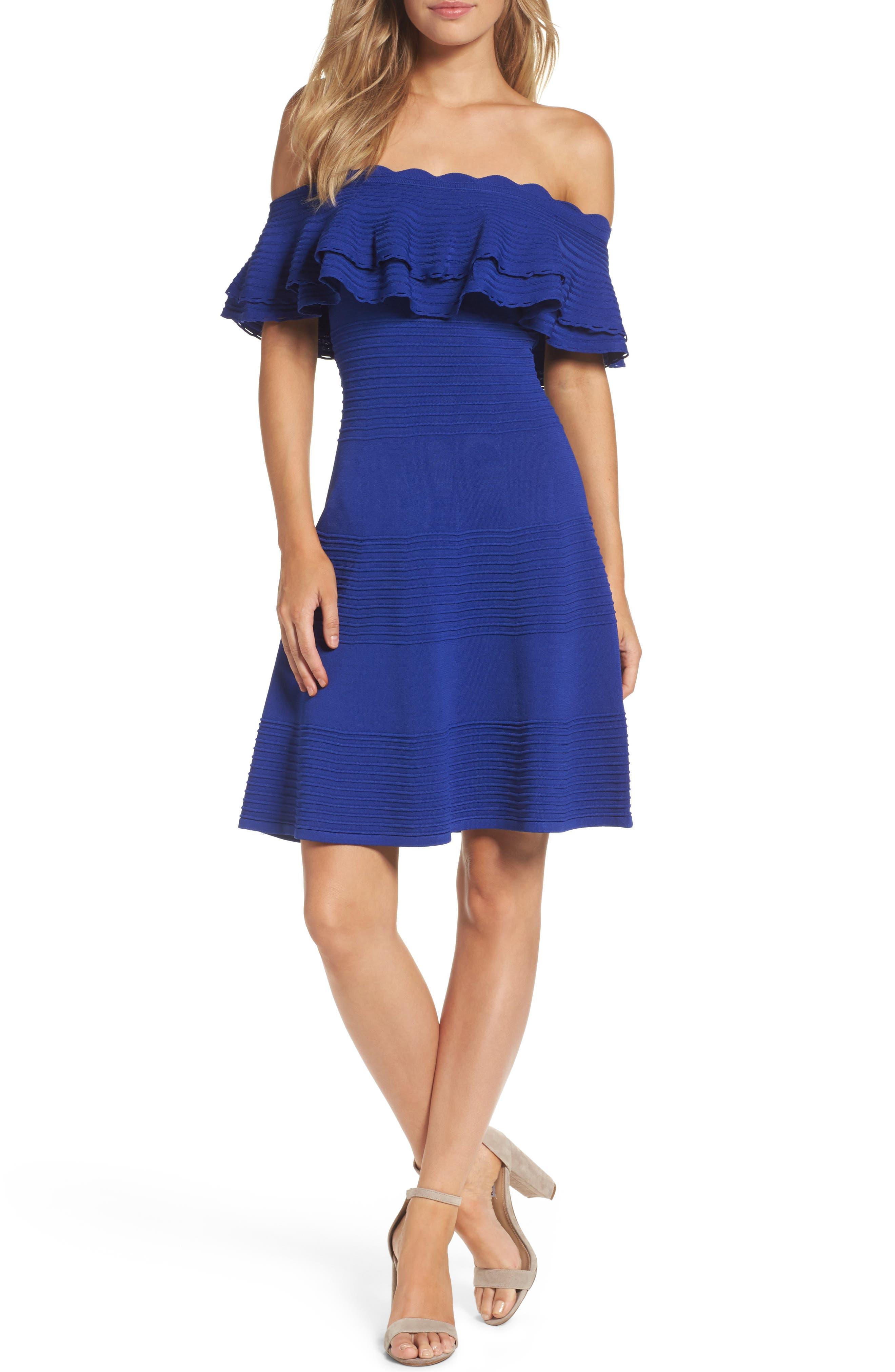Eliza J Off the Shoulder Fit & Flare Dress (Regular & Petite)