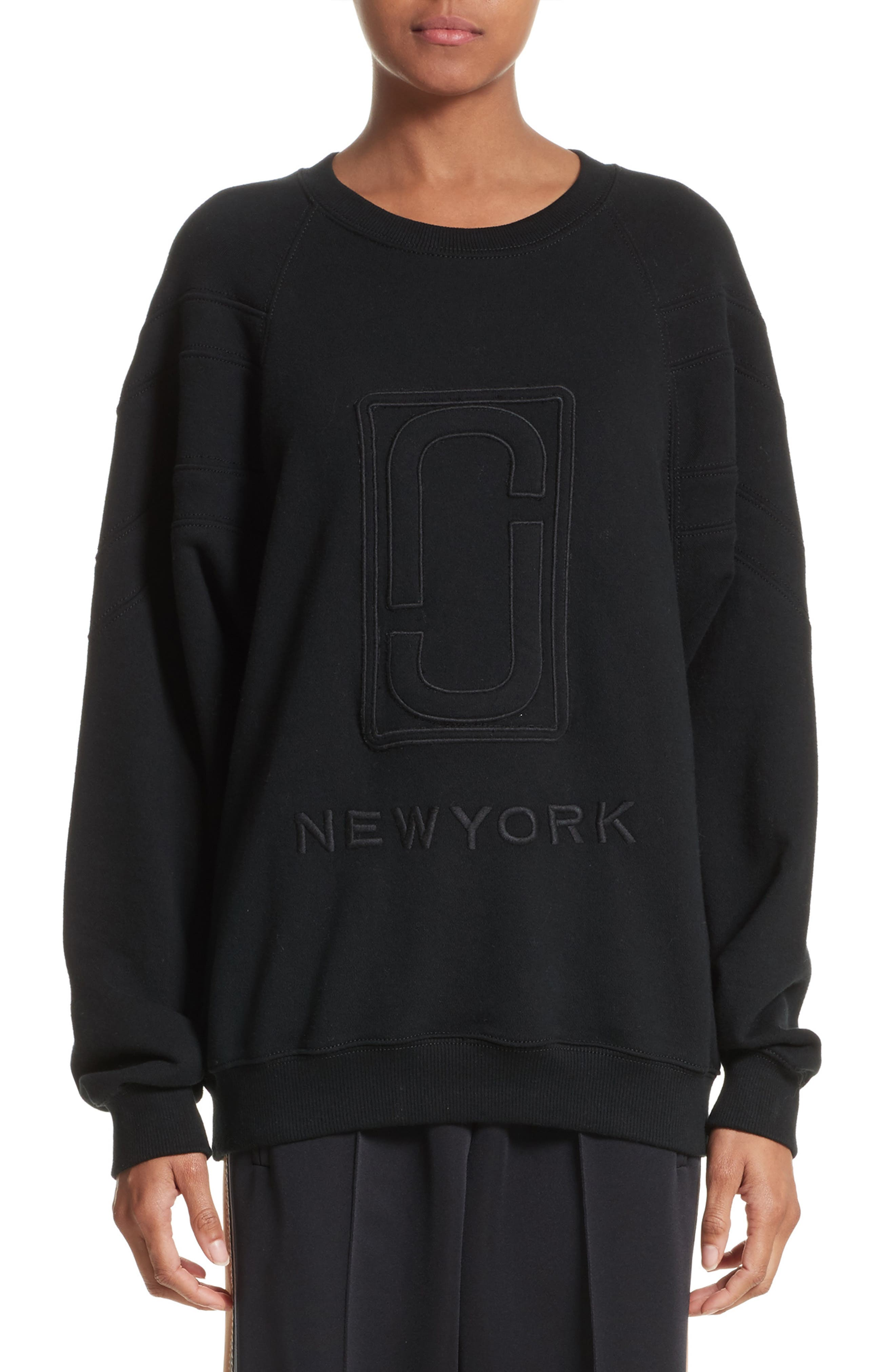 Embroidered Logo Sweatshirt,                             Main thumbnail 1, color,                             Black