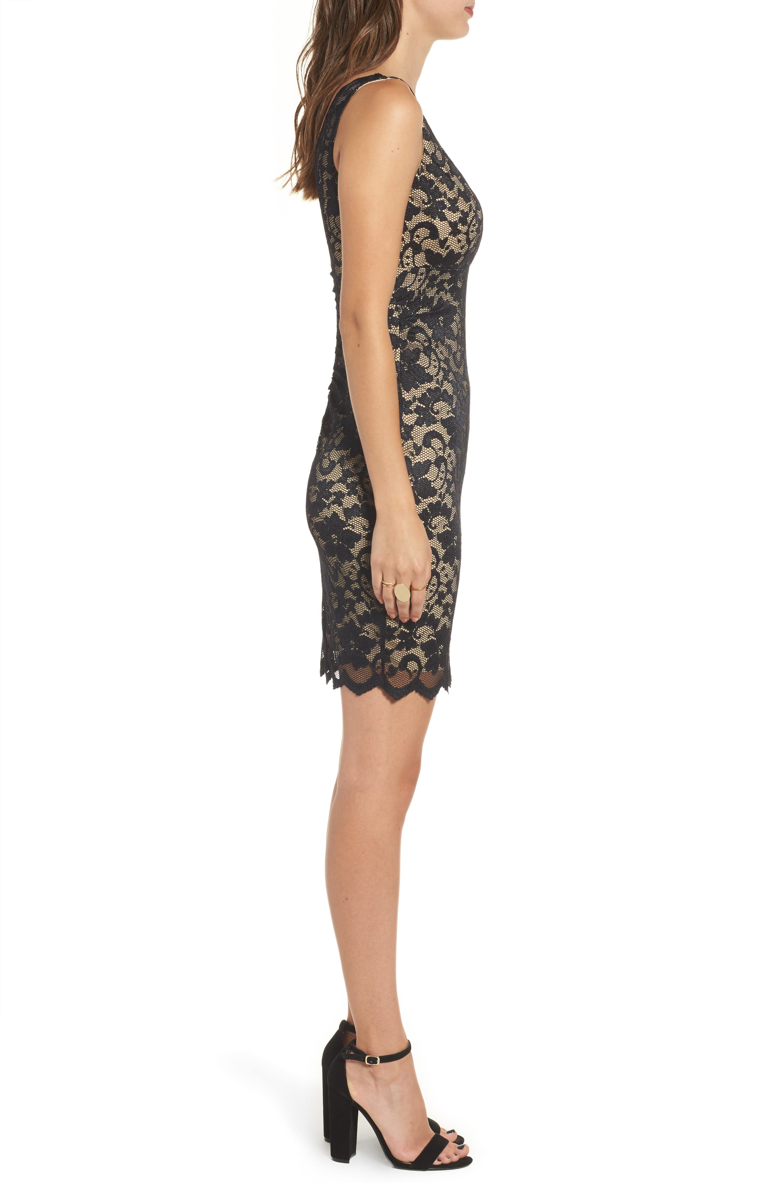 Love Nickie Lew Lace Body Con Dress,                             Alternate thumbnail 3, color,                             Black/ Nude