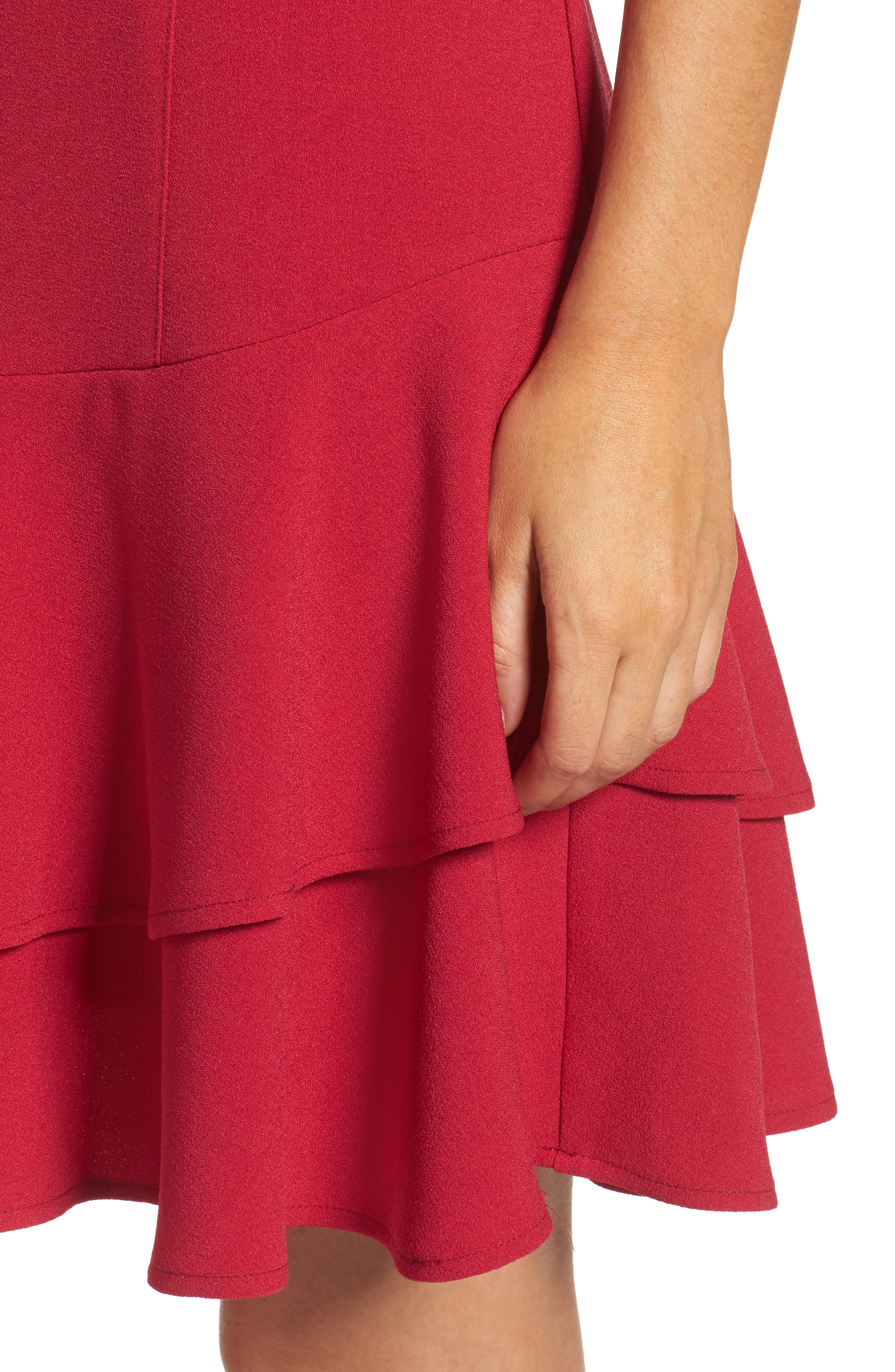 Stretch Crepe Sheath Dress,                             Alternate thumbnail 4, color,                             Berry