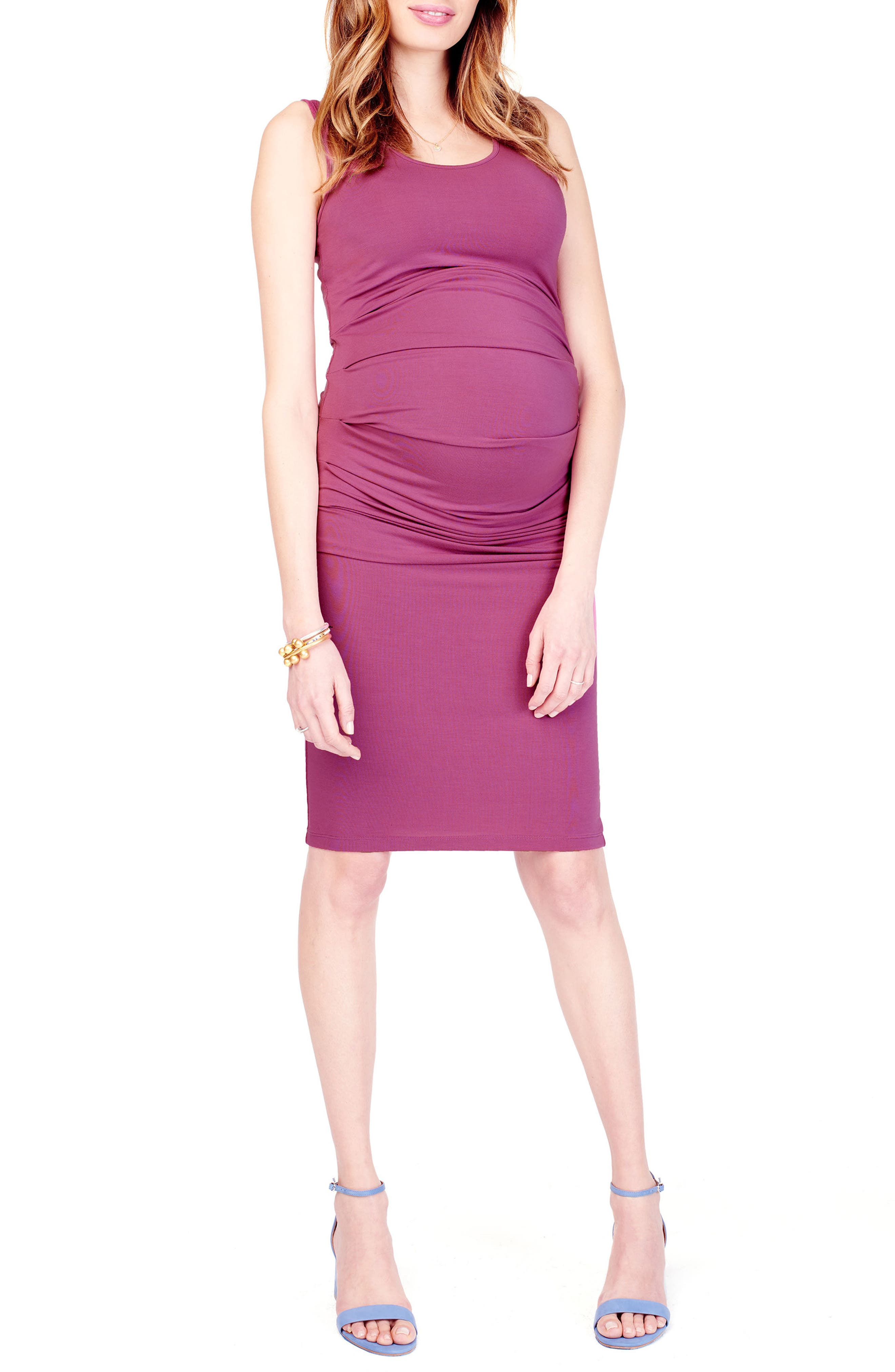 Ruched Maternity Tank Dress,                             Main thumbnail 1, color,                             Hibiscus