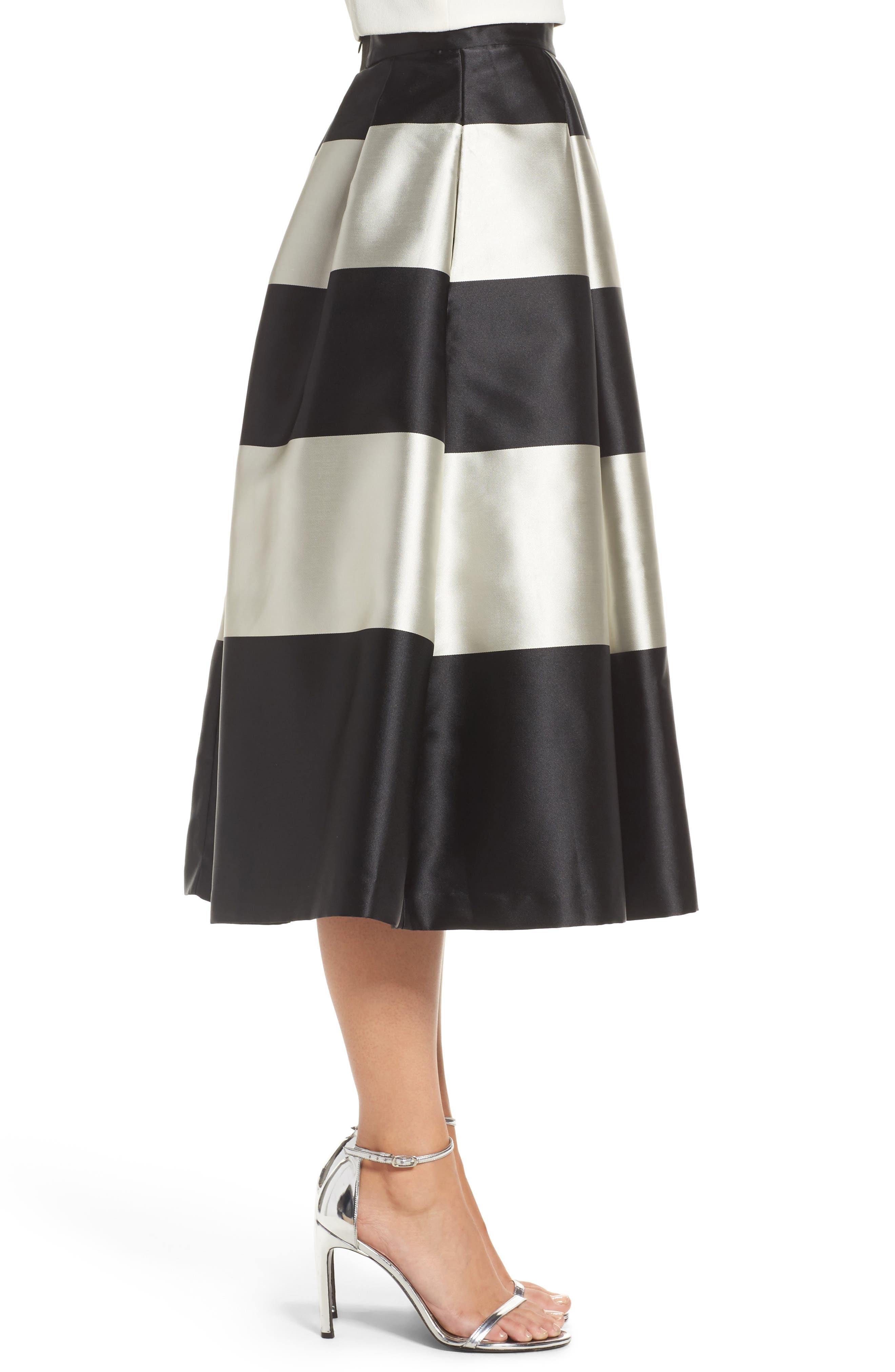 Stripe Pleated Midi Skirt,                             Alternate thumbnail 3, color,                             Black/ Ivory