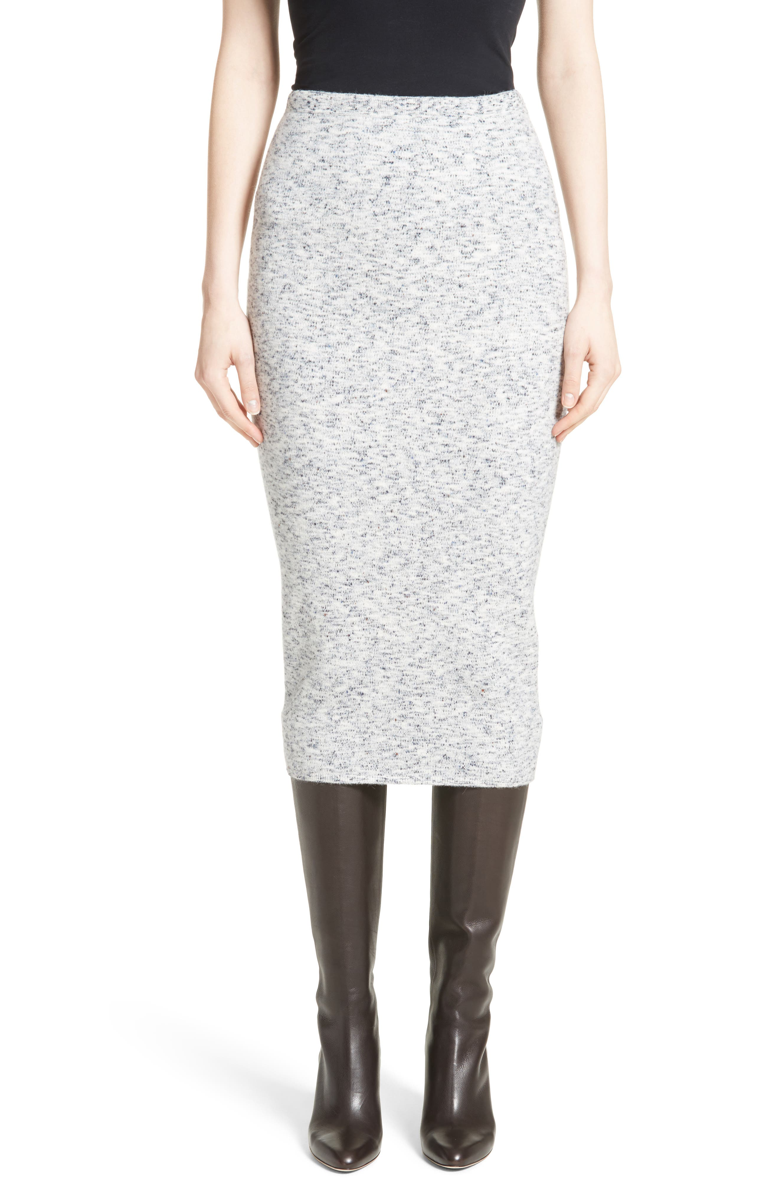 Mélange Felt Skirt,                         Main,                         color, Multi Navy