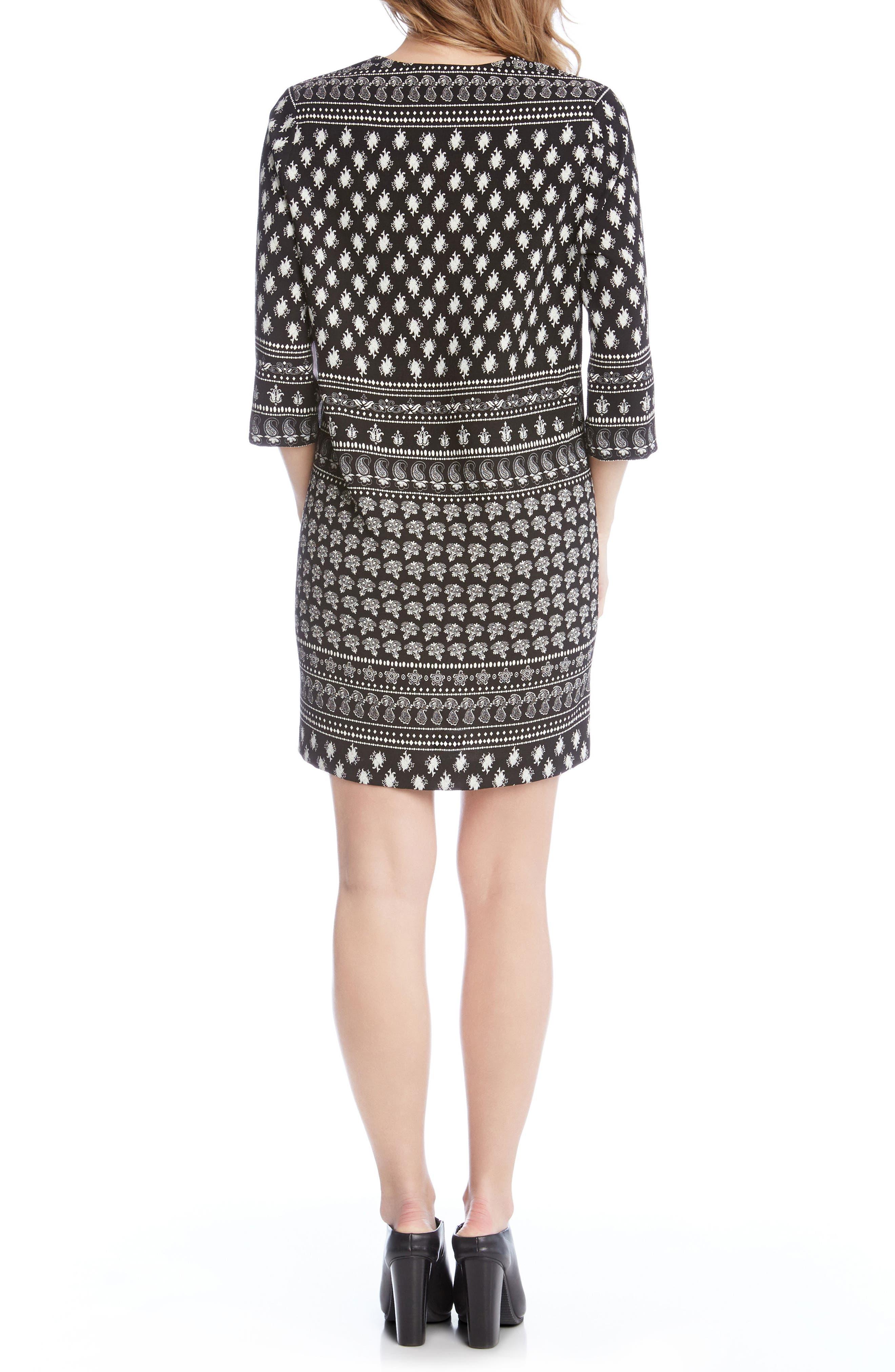 Alternate Image 4  - Karen Kane Print Lace-Up Shift Dress