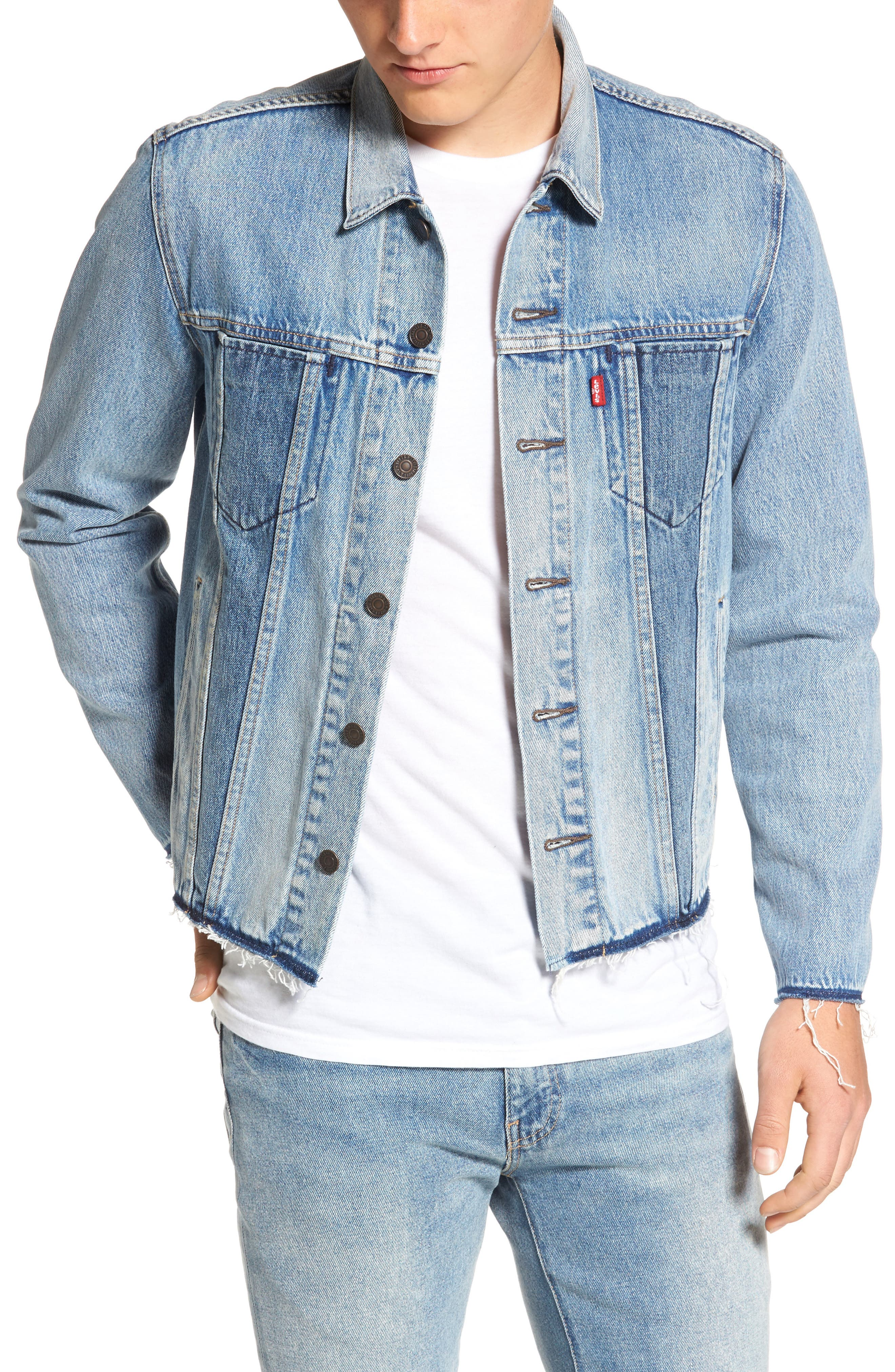 Altered Distressed Denim Trucker Jacket,                             Main thumbnail 1, color,                             Reform