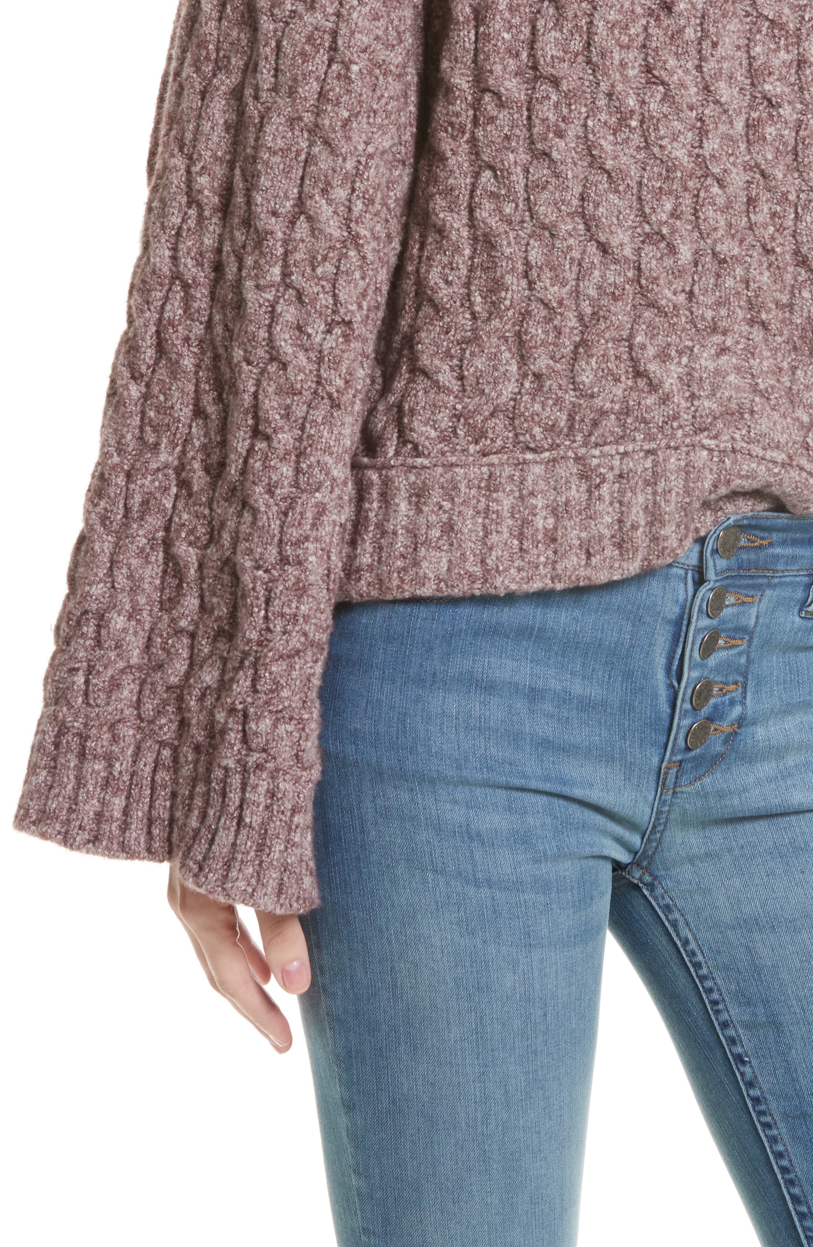 Alternate Image 4  - Free People Snow Bird Cable Knit Sweater