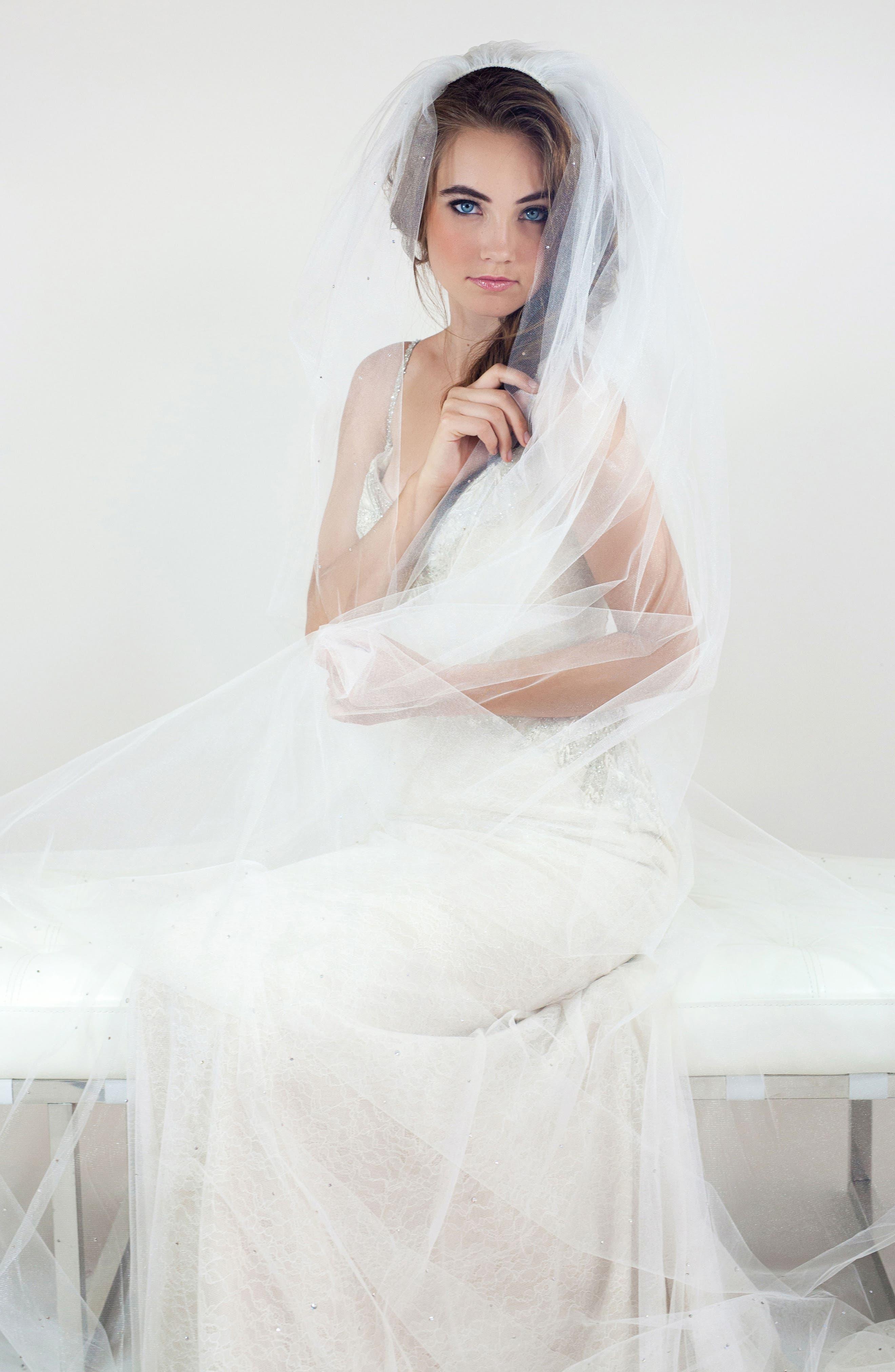 Peridot Mesh Veil,                         Main,                         color, Light Ivory