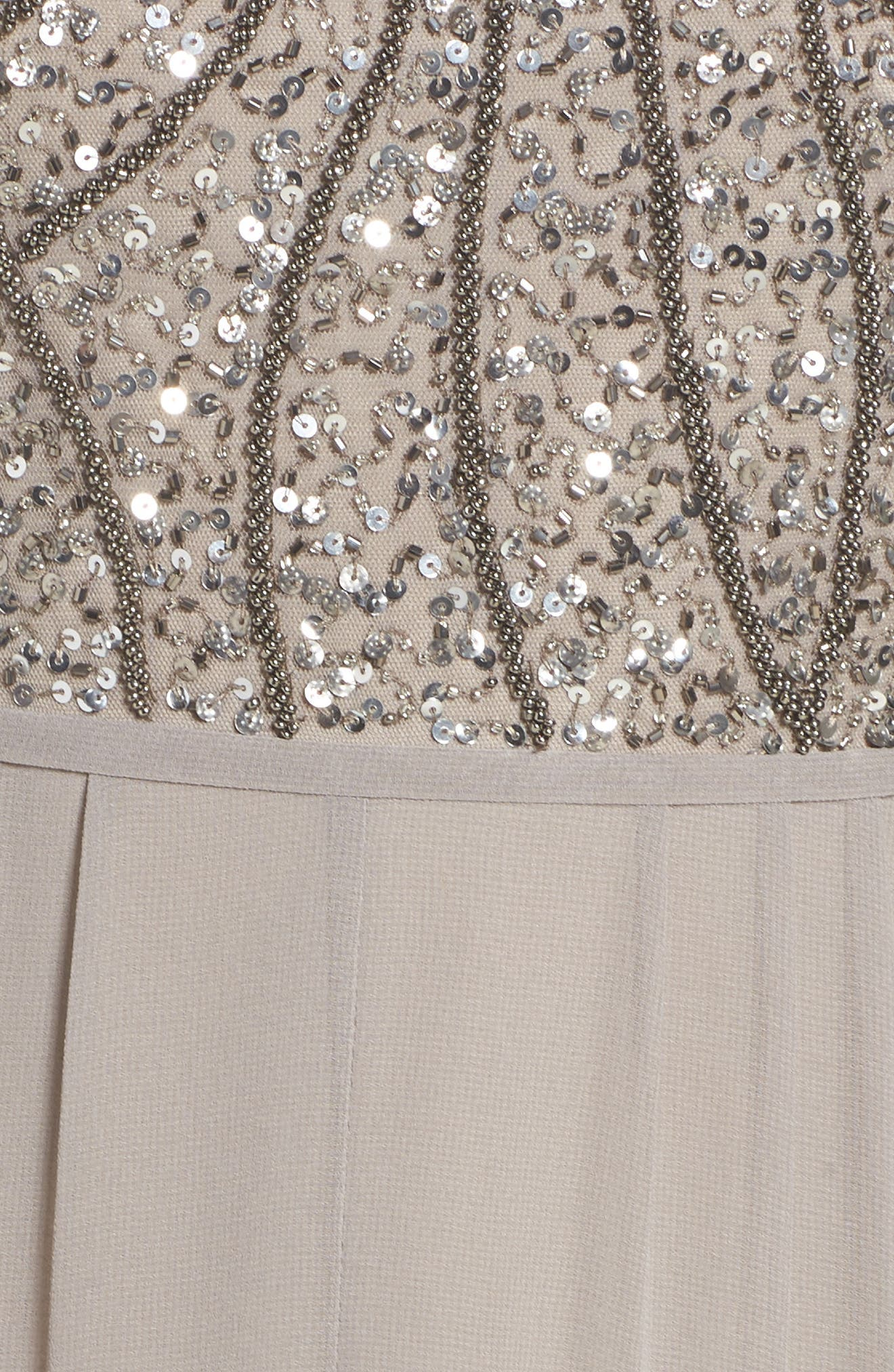 Embellished Bodice Gown,                             Alternate thumbnail 5, color,                             Platinum