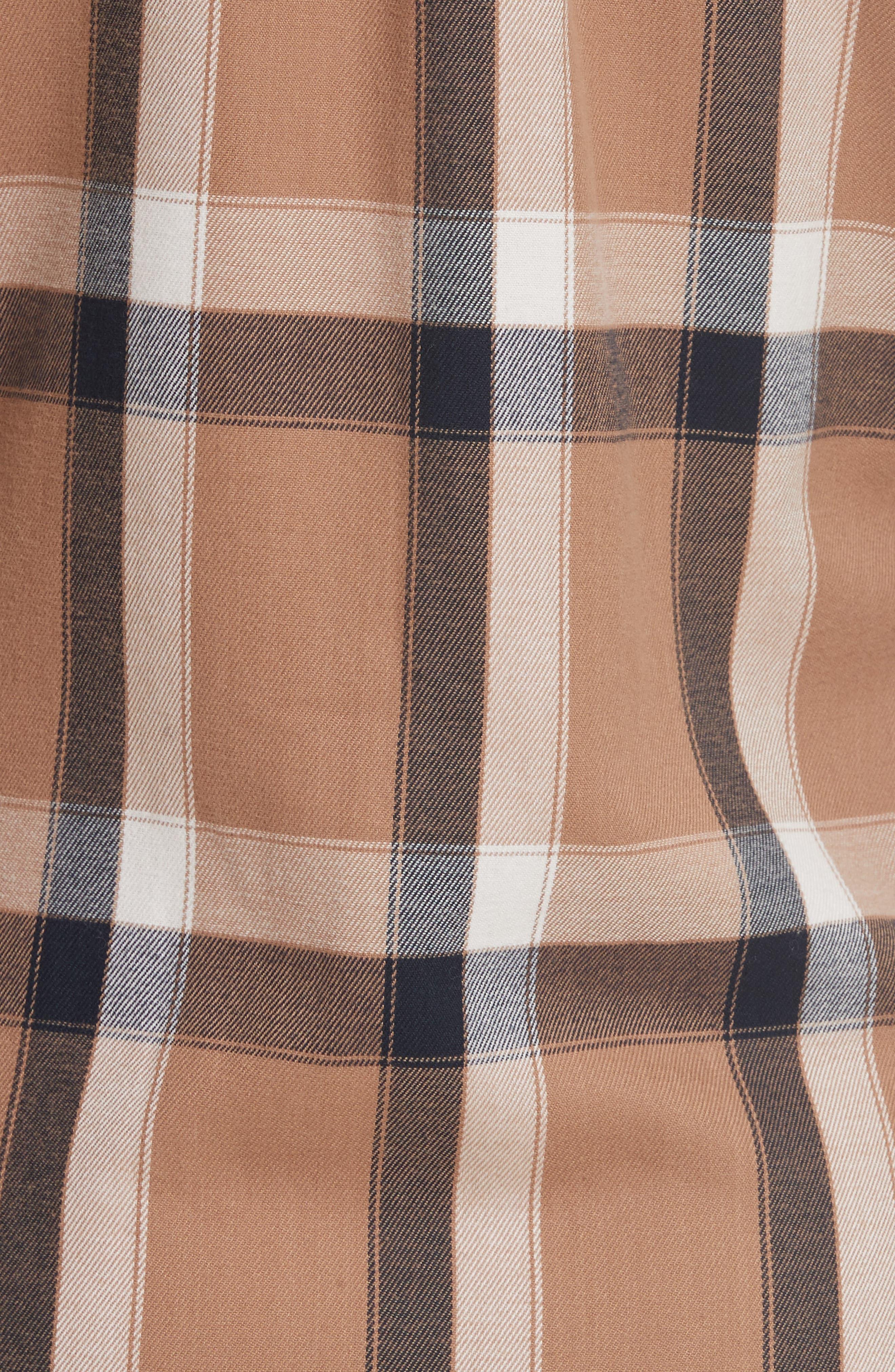 Plaid Tie Waist Dress,                             Alternate thumbnail 5, color,                             Camel