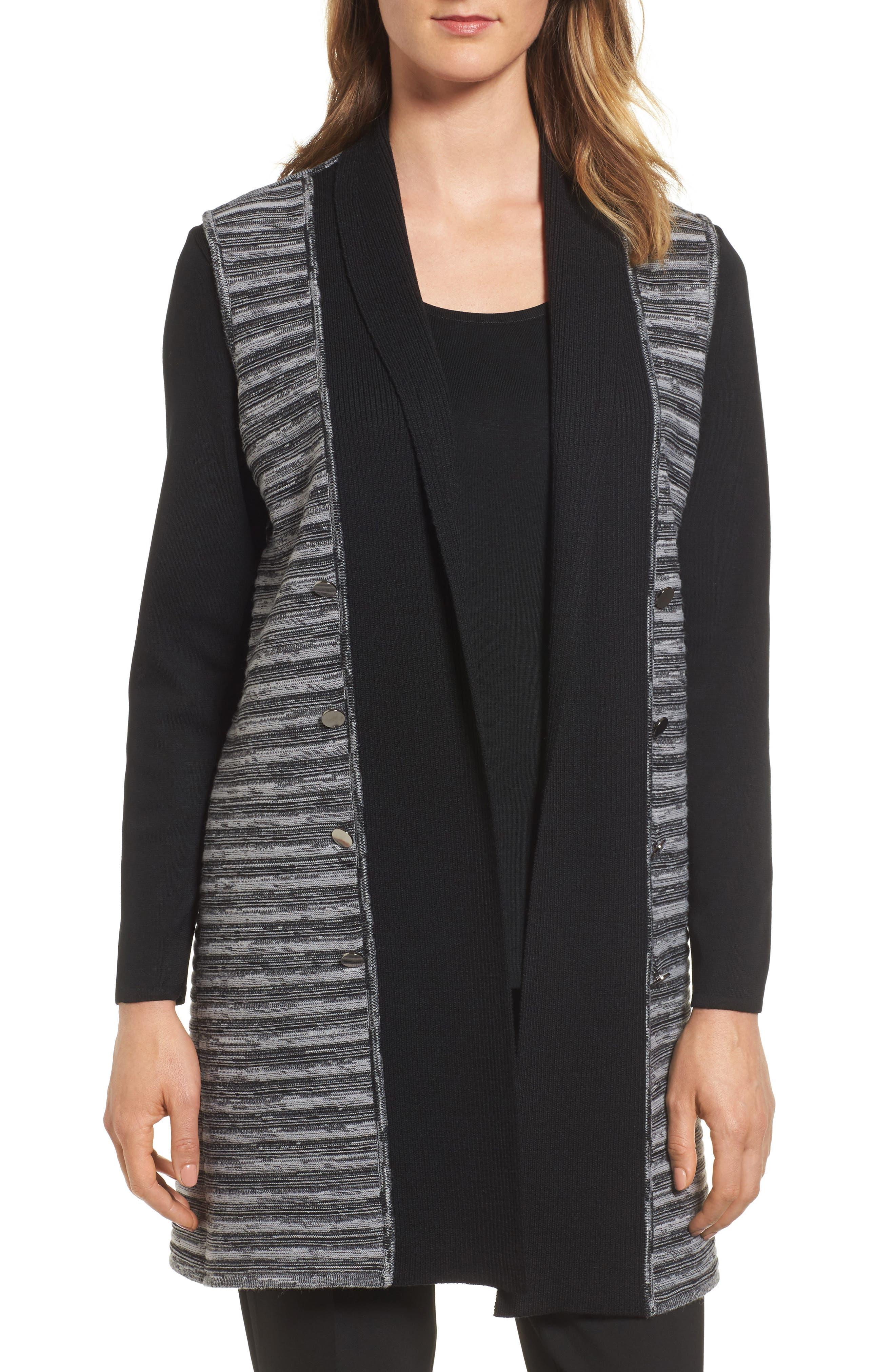 MING WANG Ribbed Tweed Vest