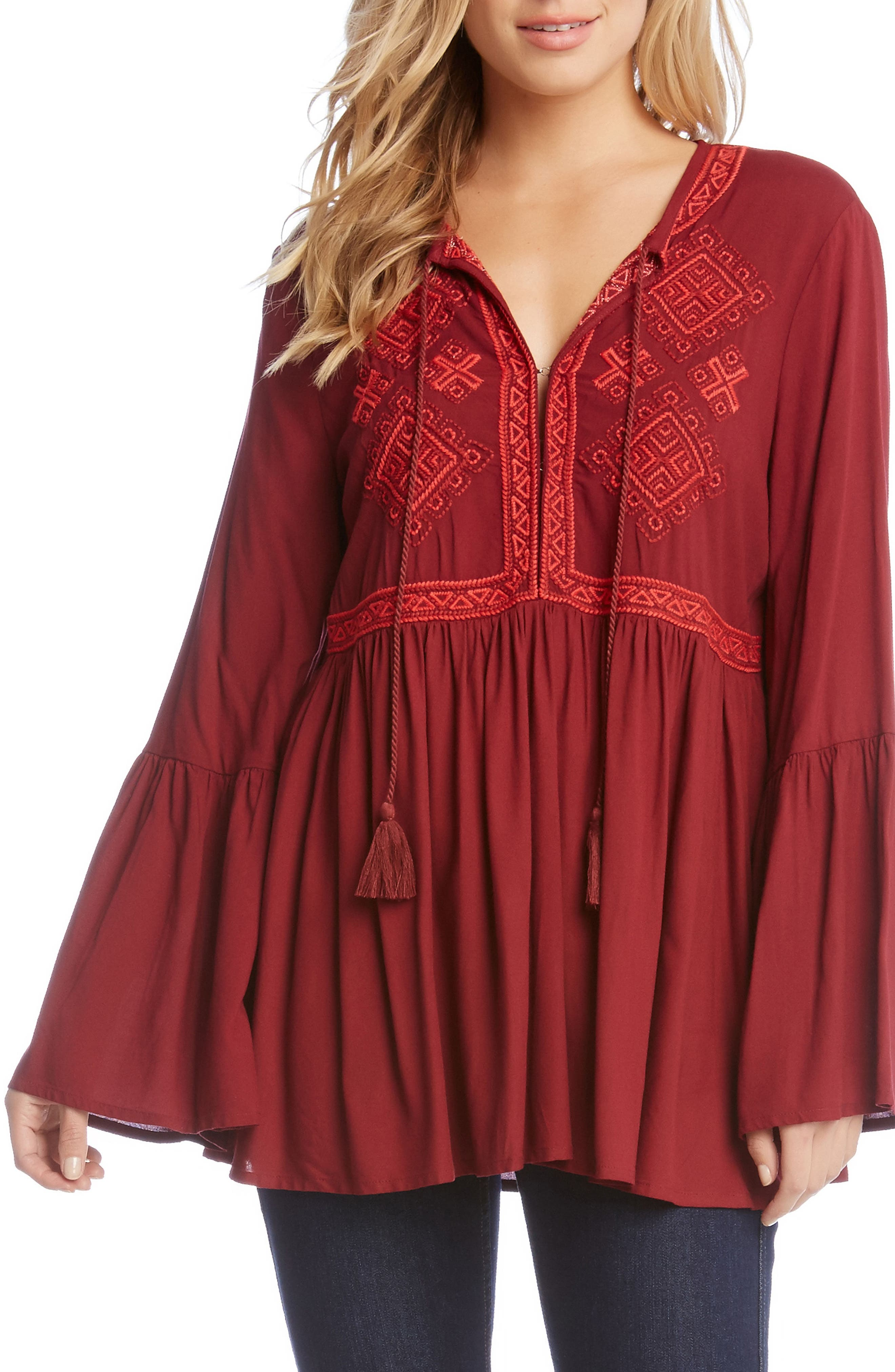 Embroidered Bell Sleeve Top,                             Main thumbnail 1, color,                             Wine
