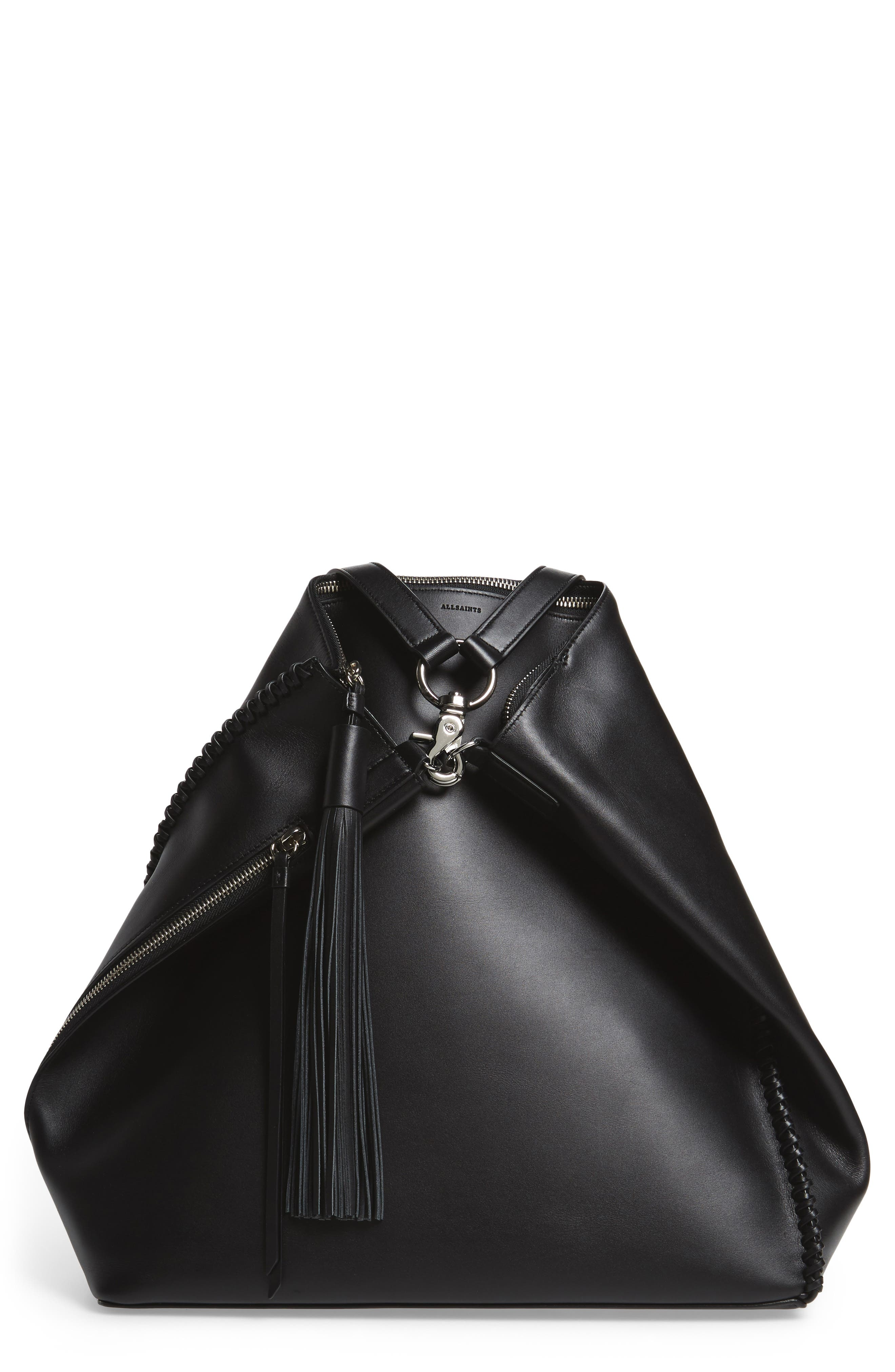 Pearl Convertible Leather Backpack,                             Alternate thumbnail 10, color,                             Black