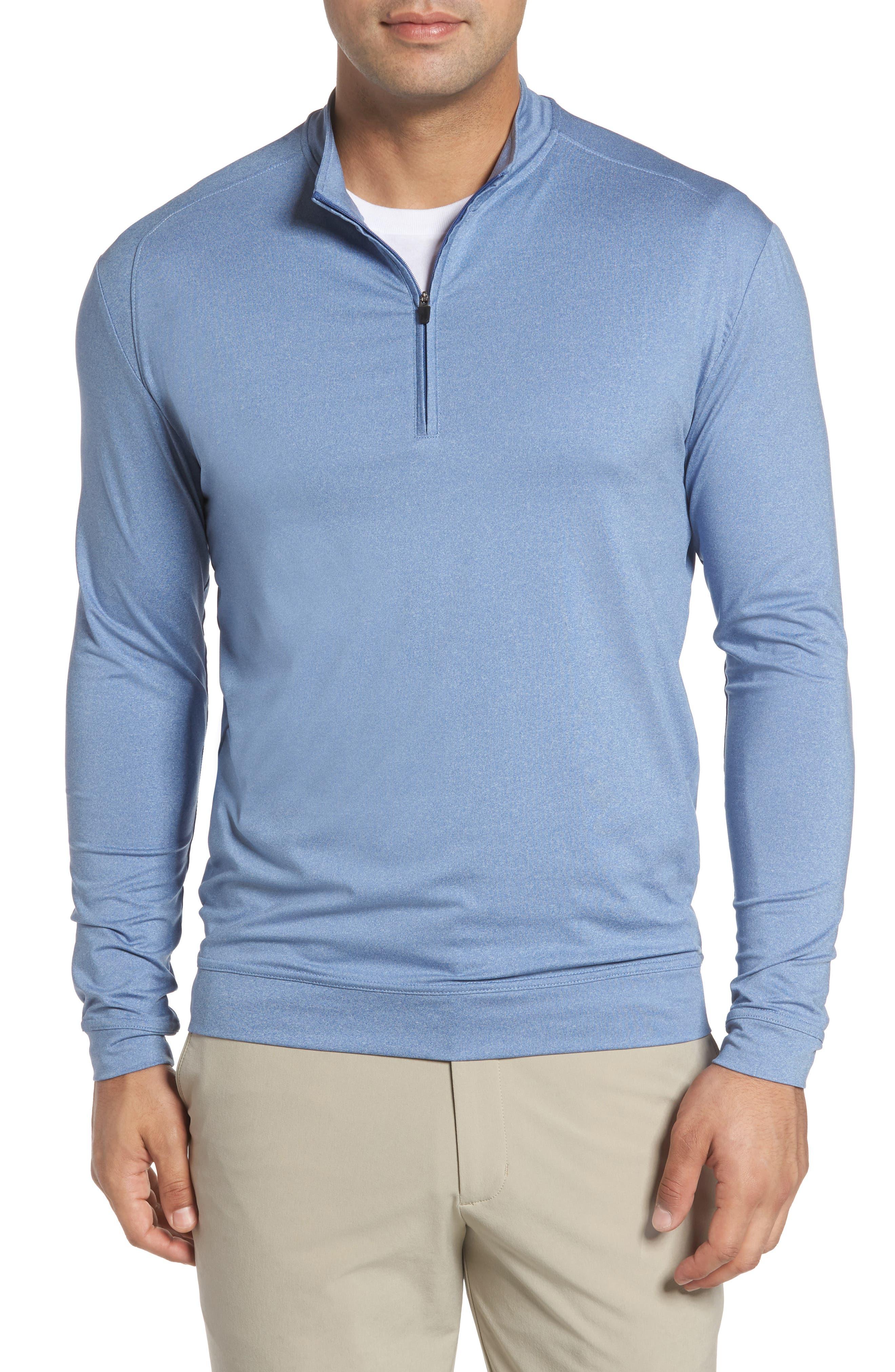 Johnnie-o Flex Classic Fit Quarter Zip Pullover In Laguna Blue