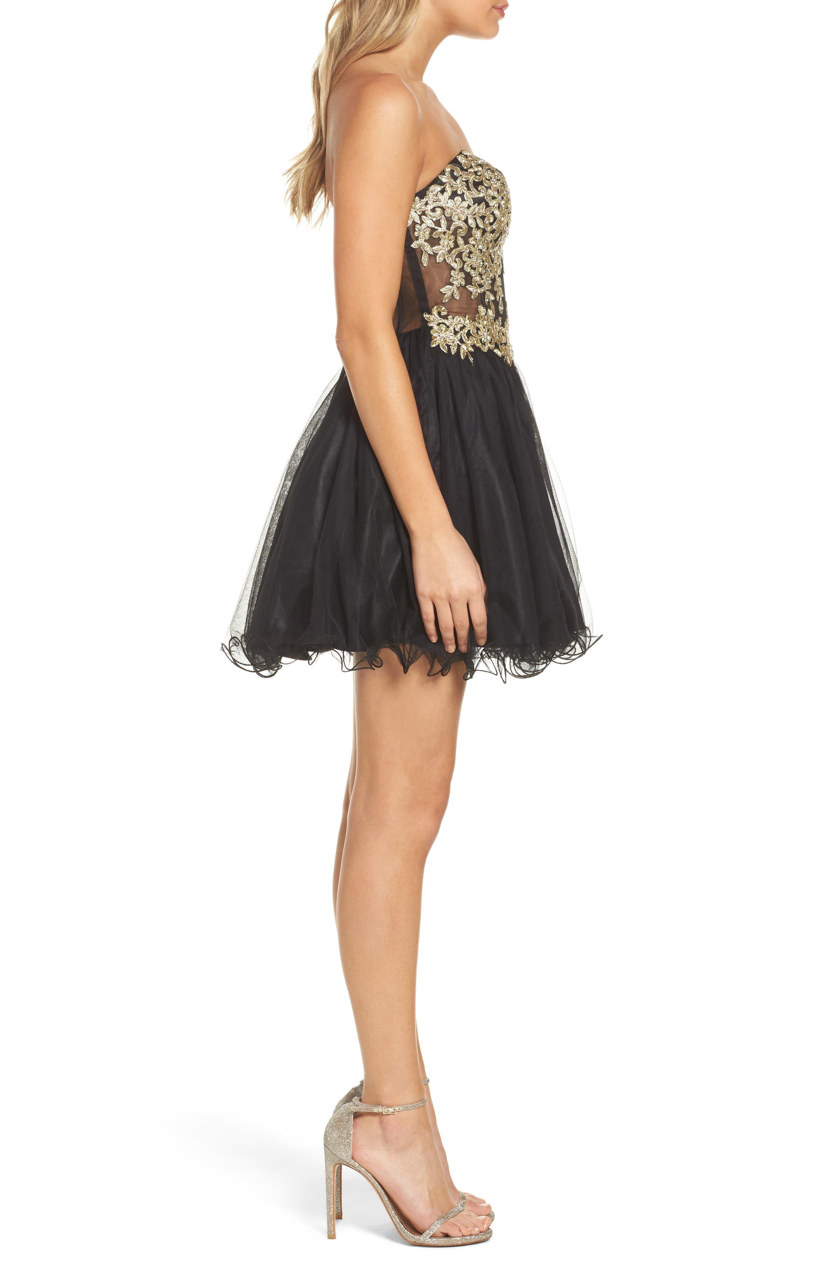 Appliqué Strapless Fit & Flare Dress,                             Alternate thumbnail 3, color,                             Black/ Gold