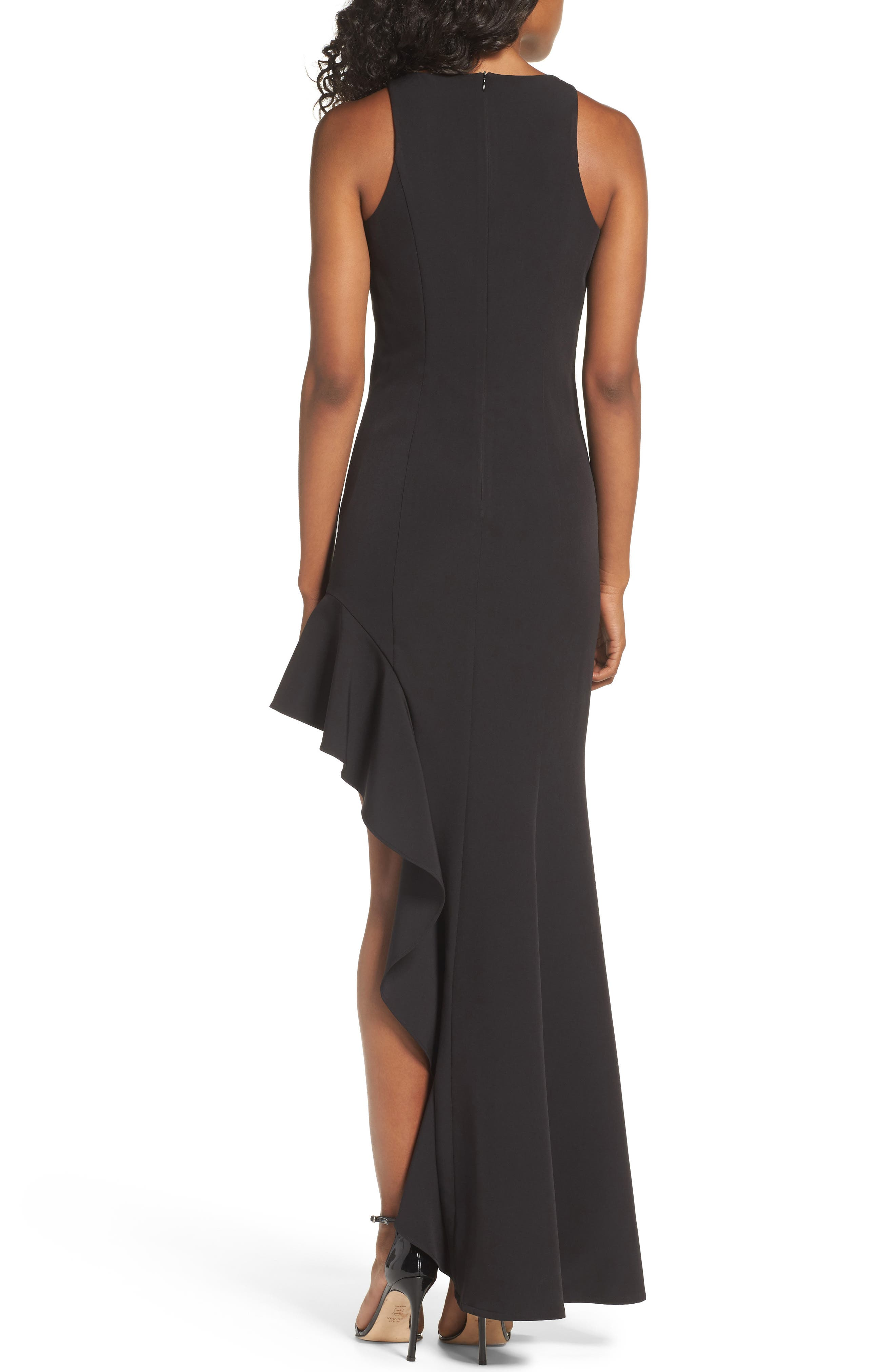 Stella Asymmetrical Ruffle Gown,                             Alternate thumbnail 2, color,                             Black