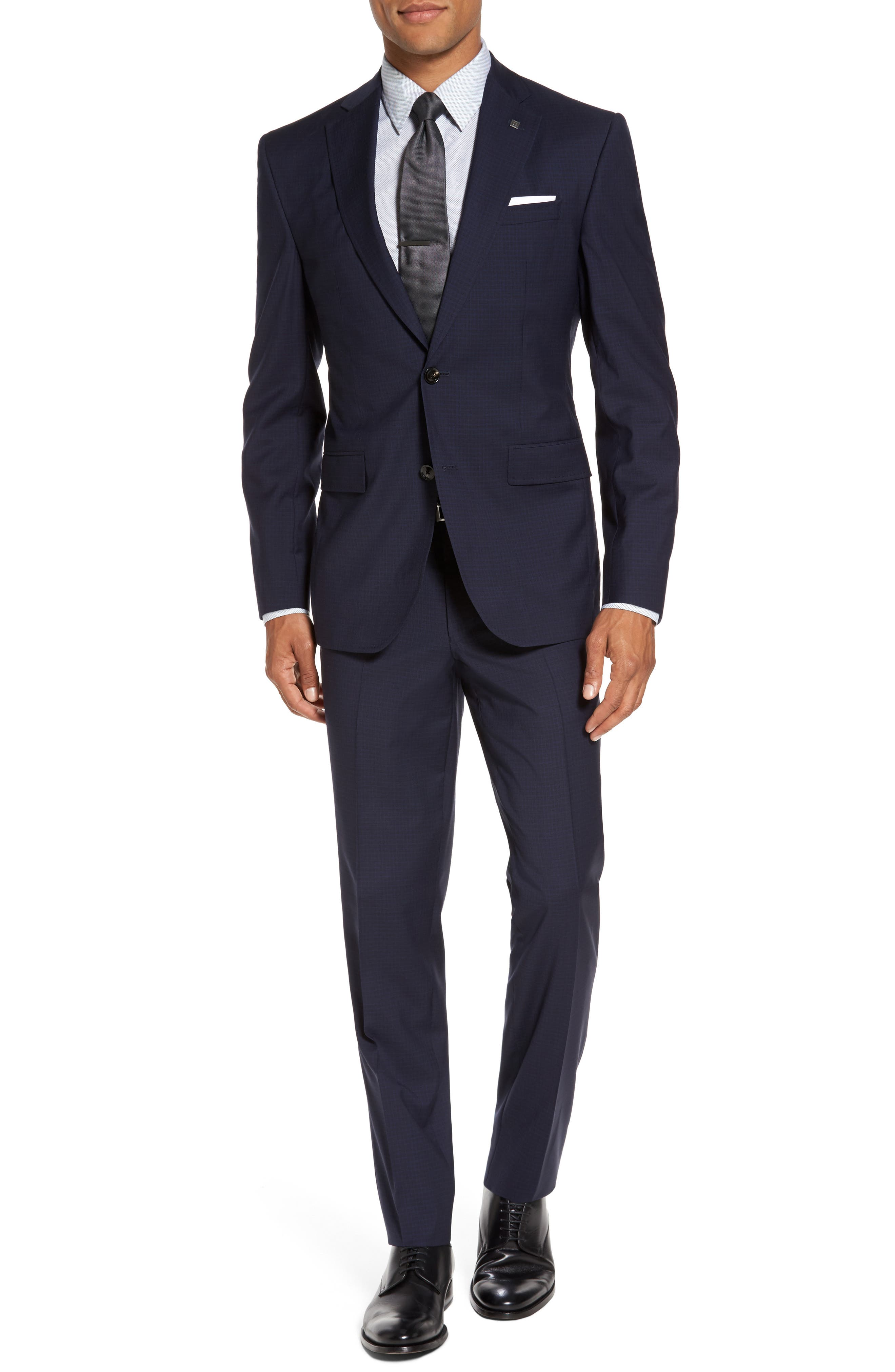 Roger Trim Fit Check Wool Suit,                         Main,                         color, Navy