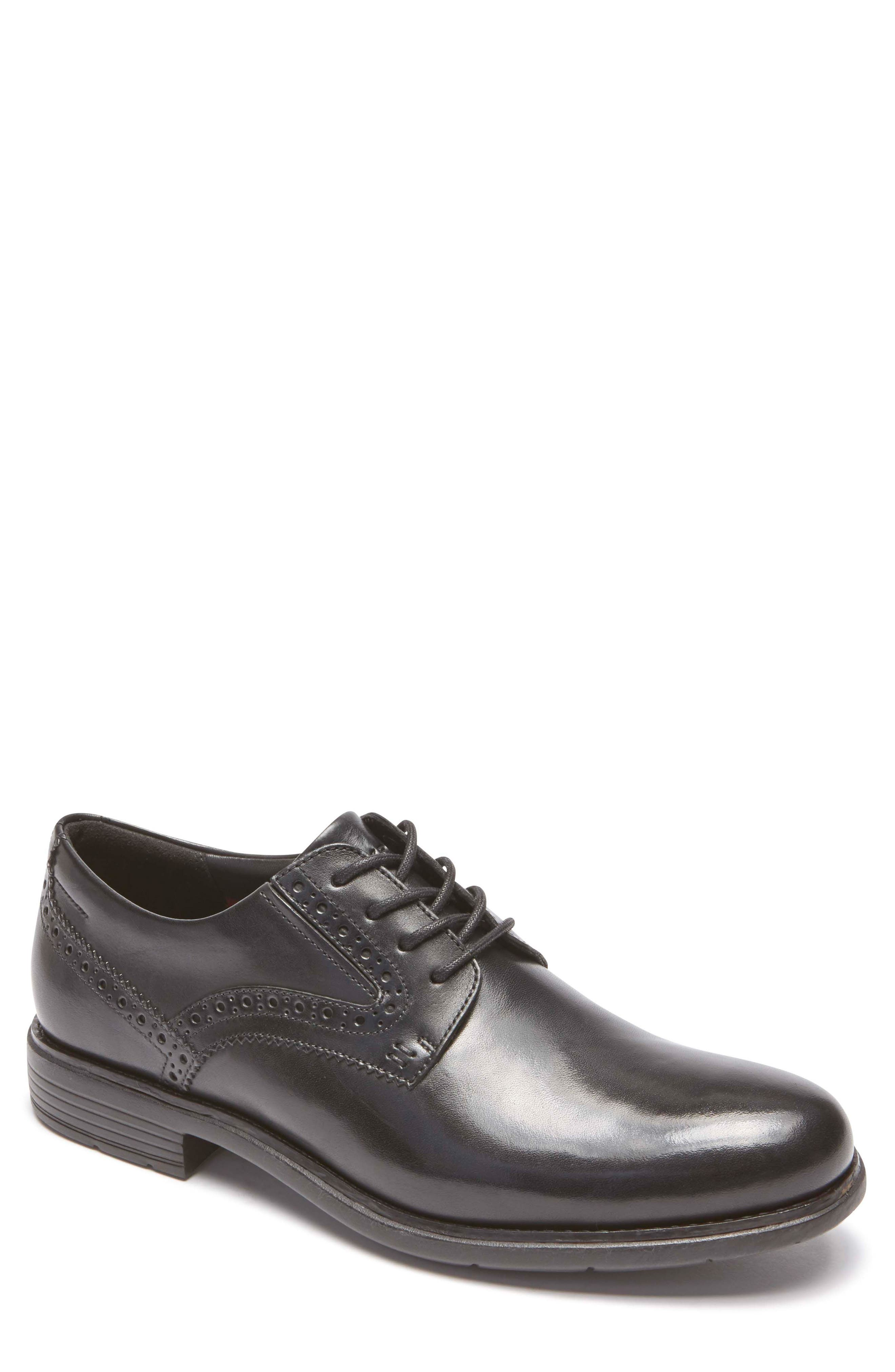 Total Motion Classic Dress Plain Toe Derby,                             Main thumbnail 1, color,                             Black Leather