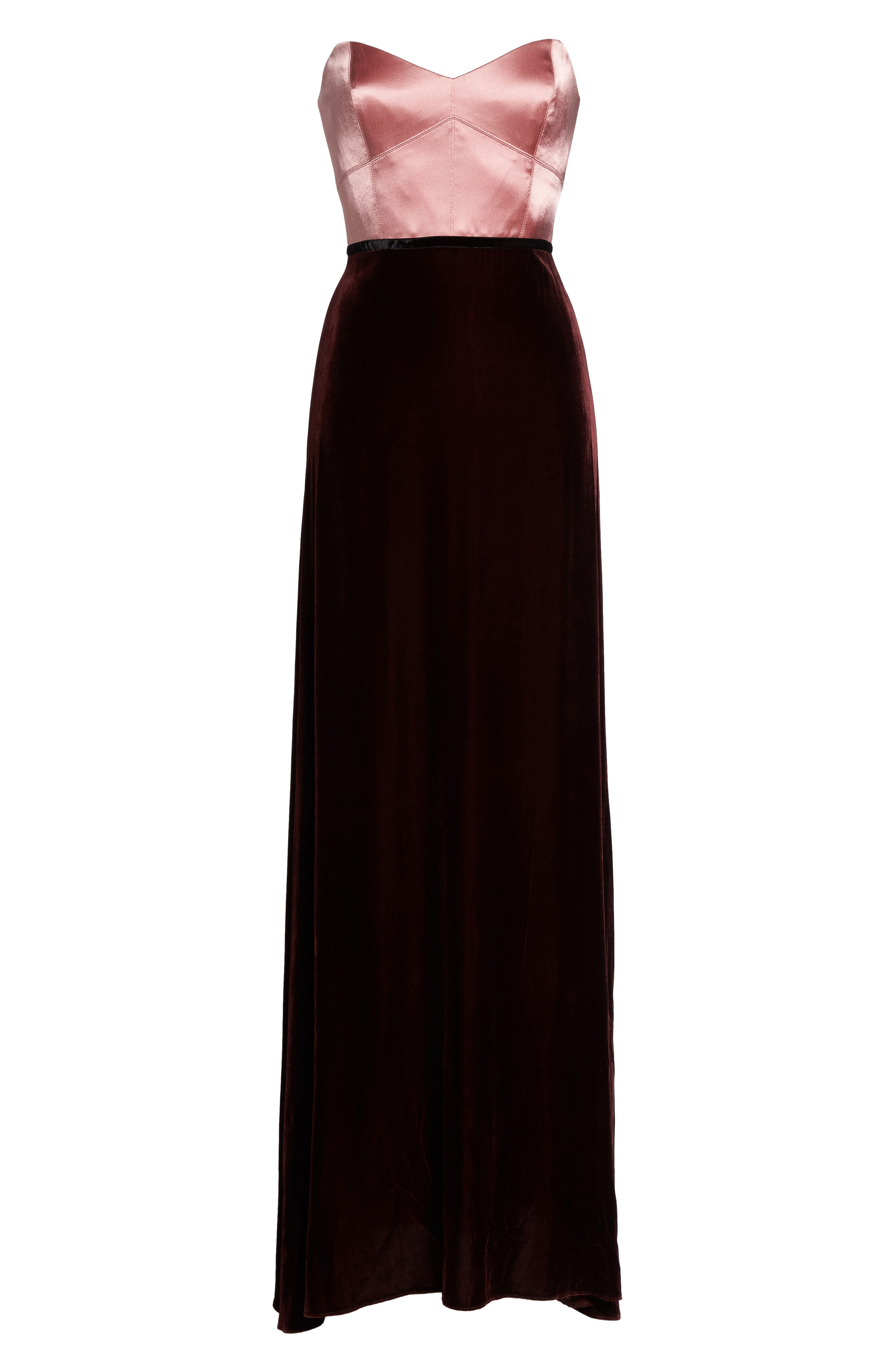 Strapless Satin & Velvet Gown,                             Alternate thumbnail 6, color,                             Prim Rose/ Raisin/ Black