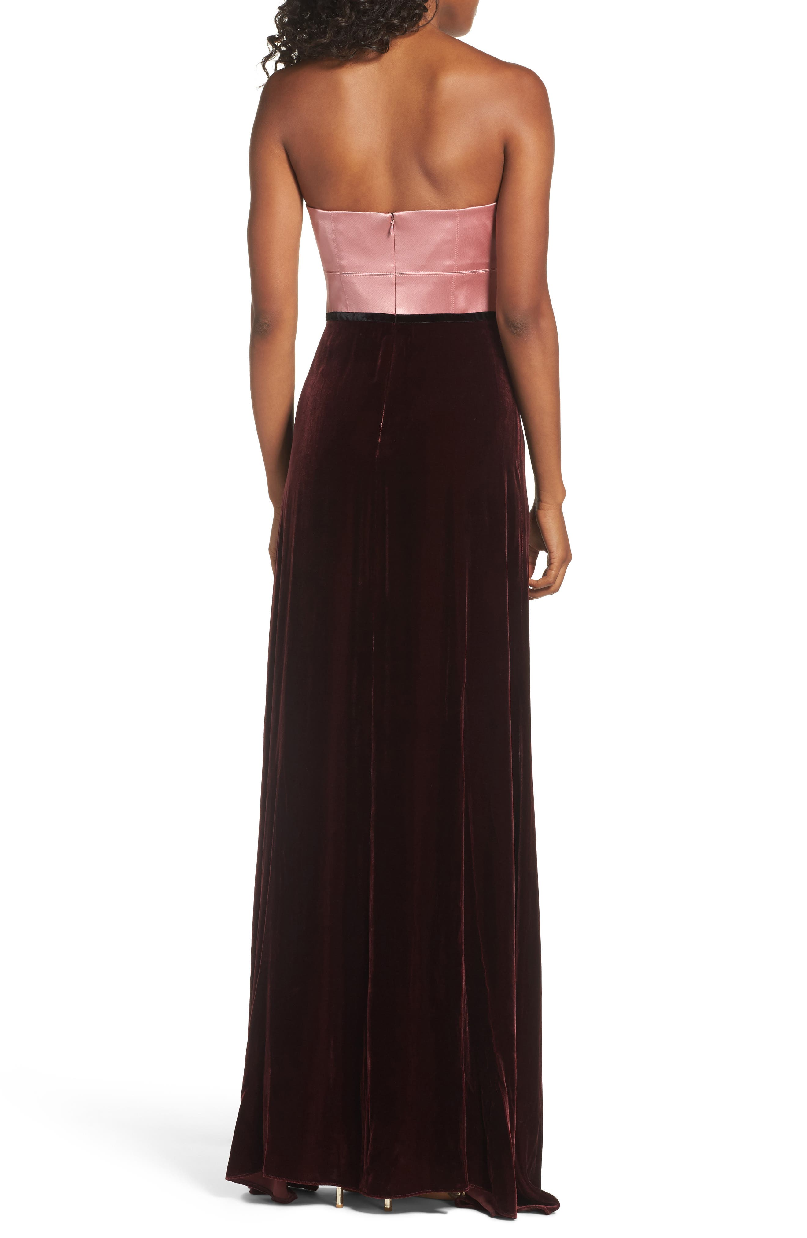 Strapless Satin & Velvet Gown,                             Alternate thumbnail 2, color,                             Prim Rose/ Raisin/ Black