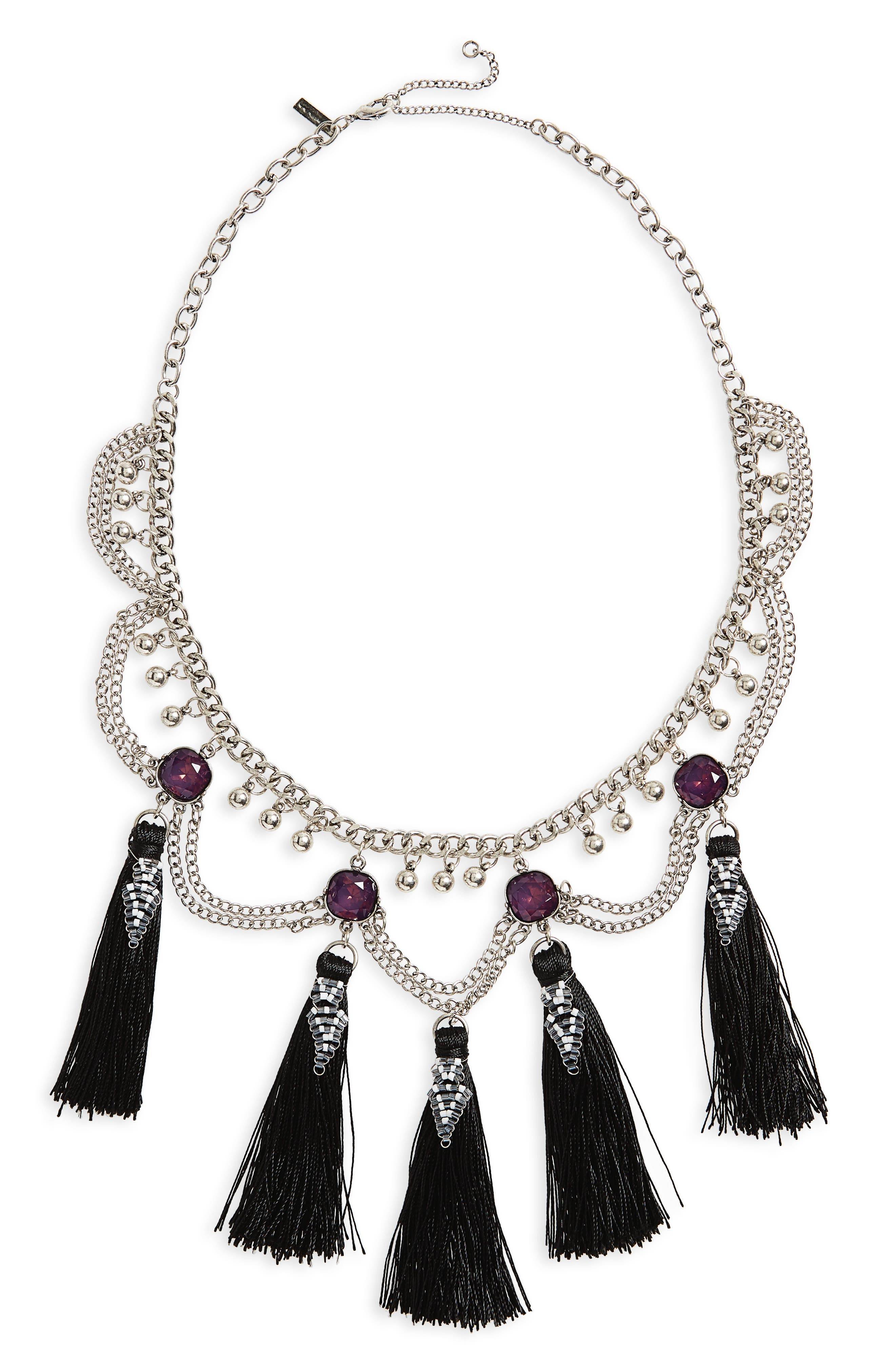 Topshop Mega Tassel Drop Collar Necklace