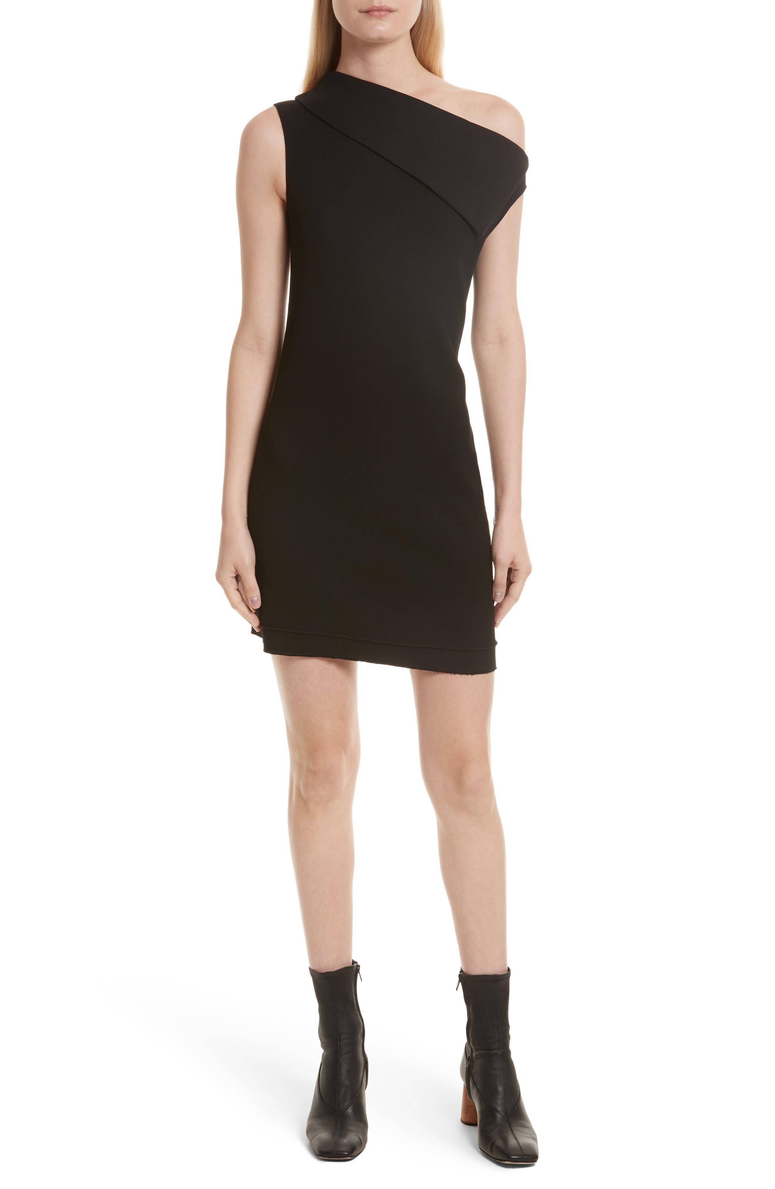 Asymmetric Wool Blend Scuba Minidress,                         Main,                         color, Black