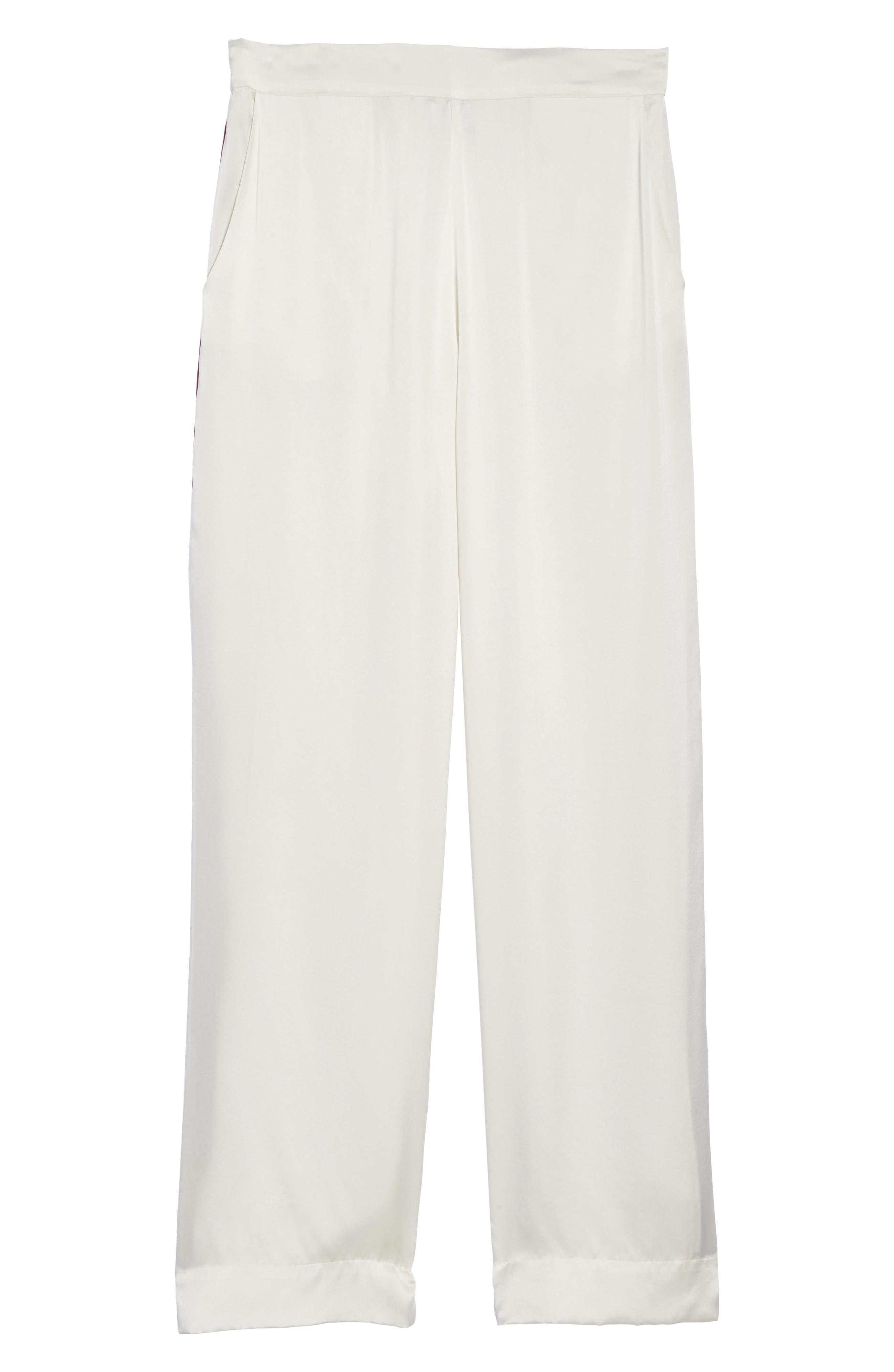 Alternate Image 4  - Asceno by Beautiful Bottoms Side Stripe Silk Pajama Pants