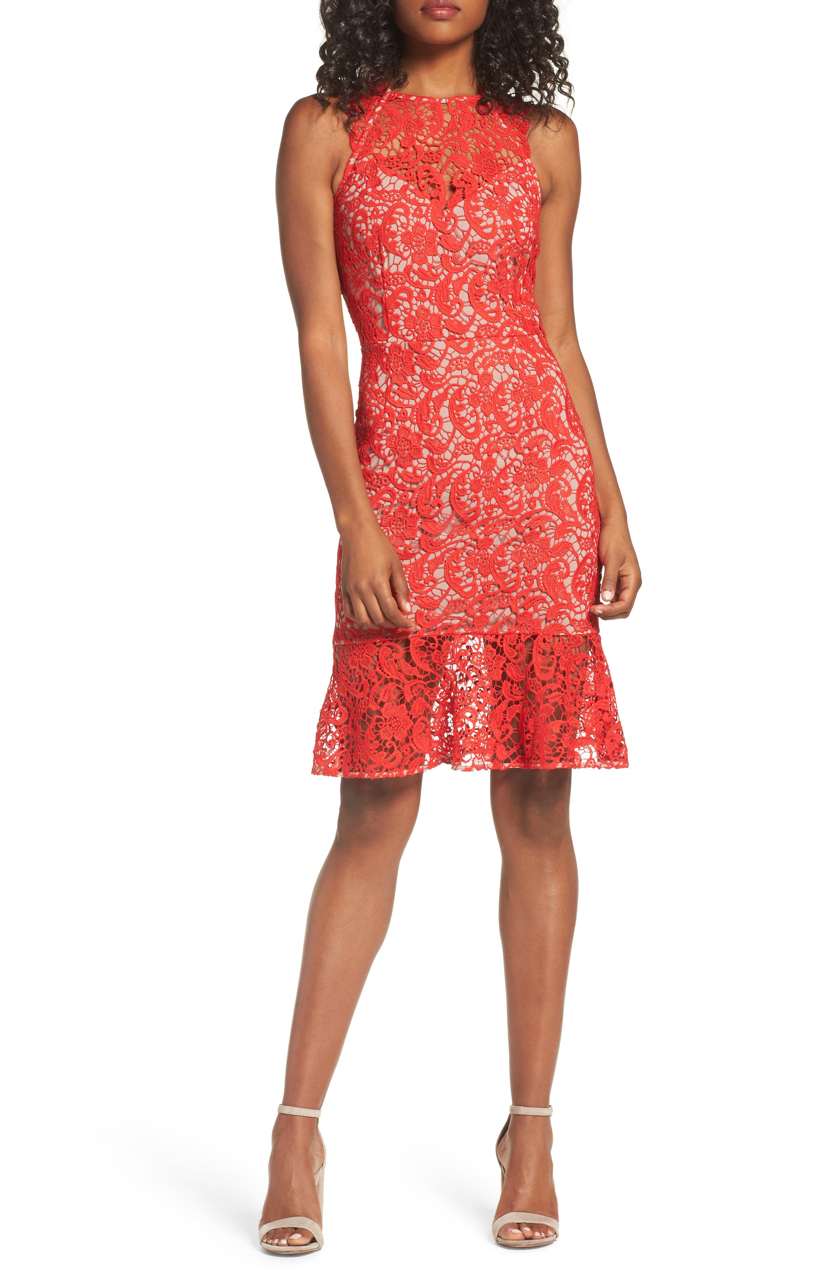 Lace Sheath Dress,                             Main thumbnail 1, color,                             Red Fiery
