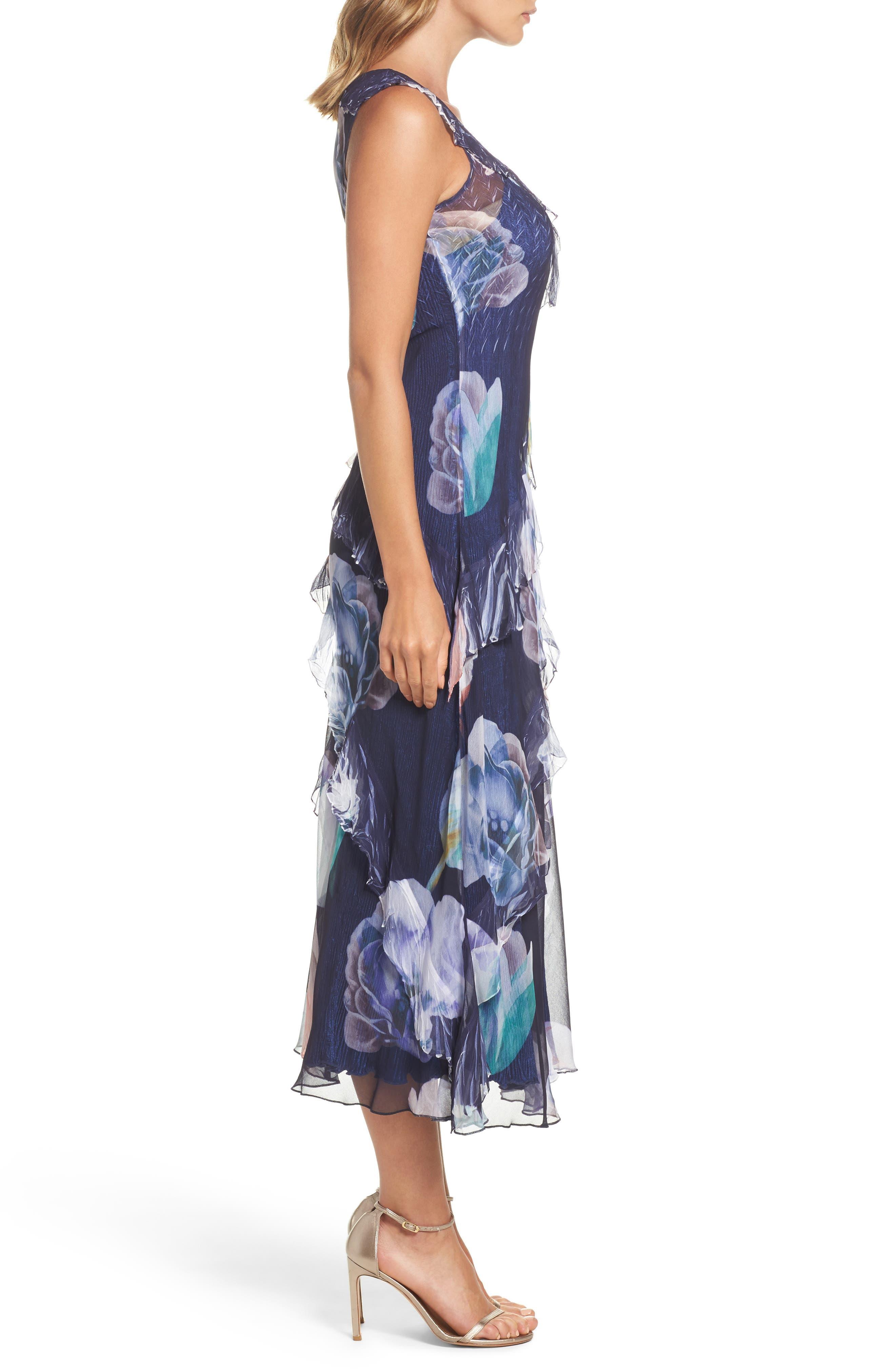 Ruffle Maxi Dress with Wrap,                             Alternate thumbnail 3, color,                             Indigo Bloom