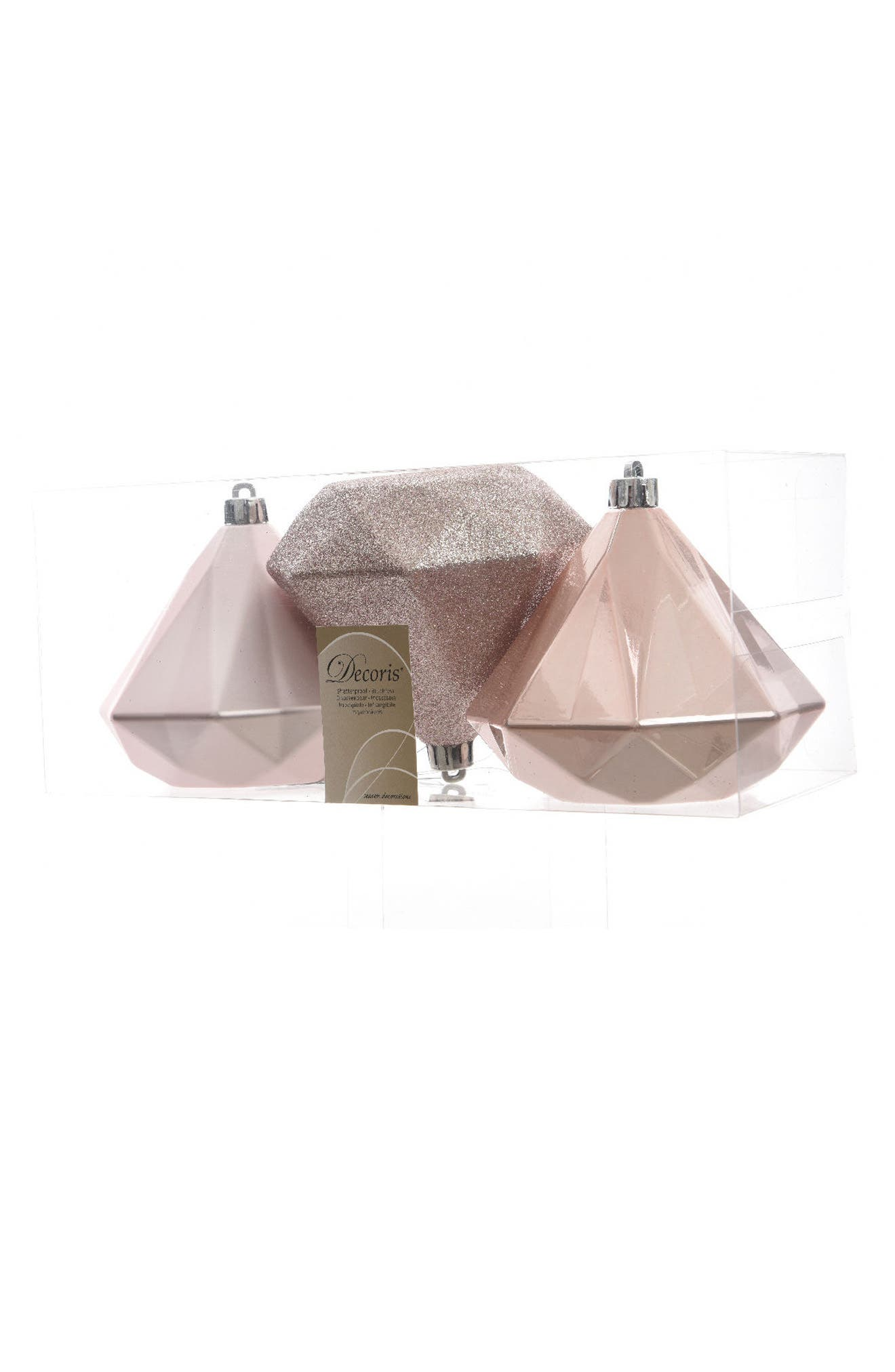 Set of 3 Giant Diamond Ornaments,                         Main,                         color, Rose Gold