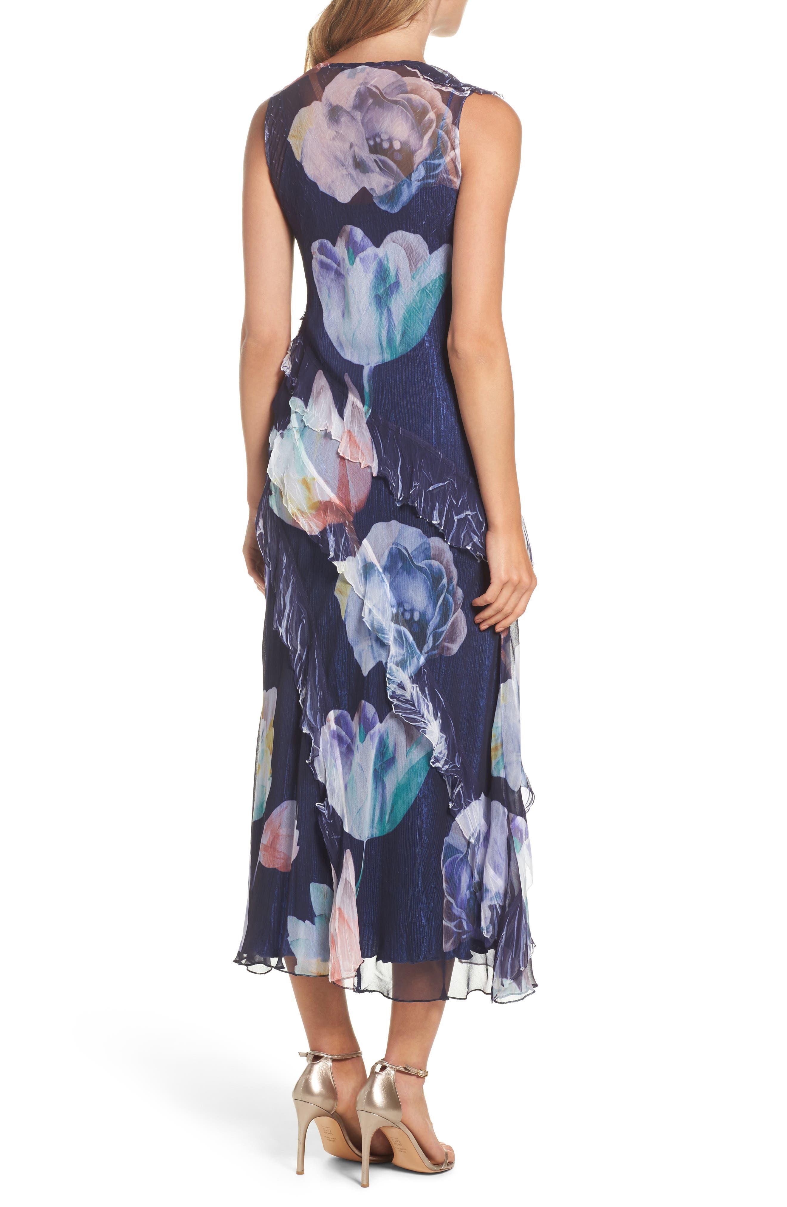 Ruffle Maxi Dress with Wrap,                             Alternate thumbnail 2, color,                             Indigo Bloom