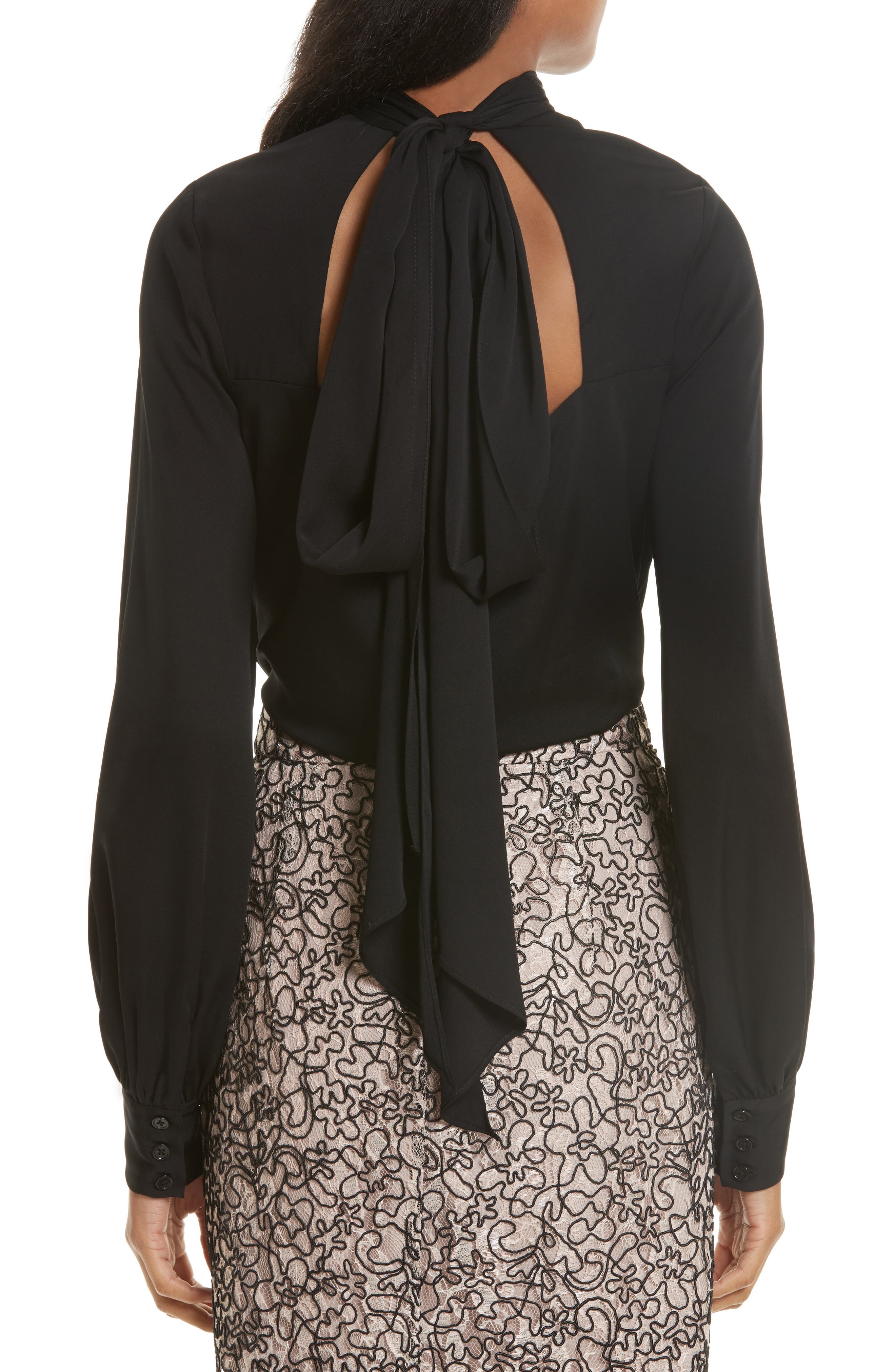 Alternate Image 2  - Milly Simona Tie Back Stretch Silk Blouse