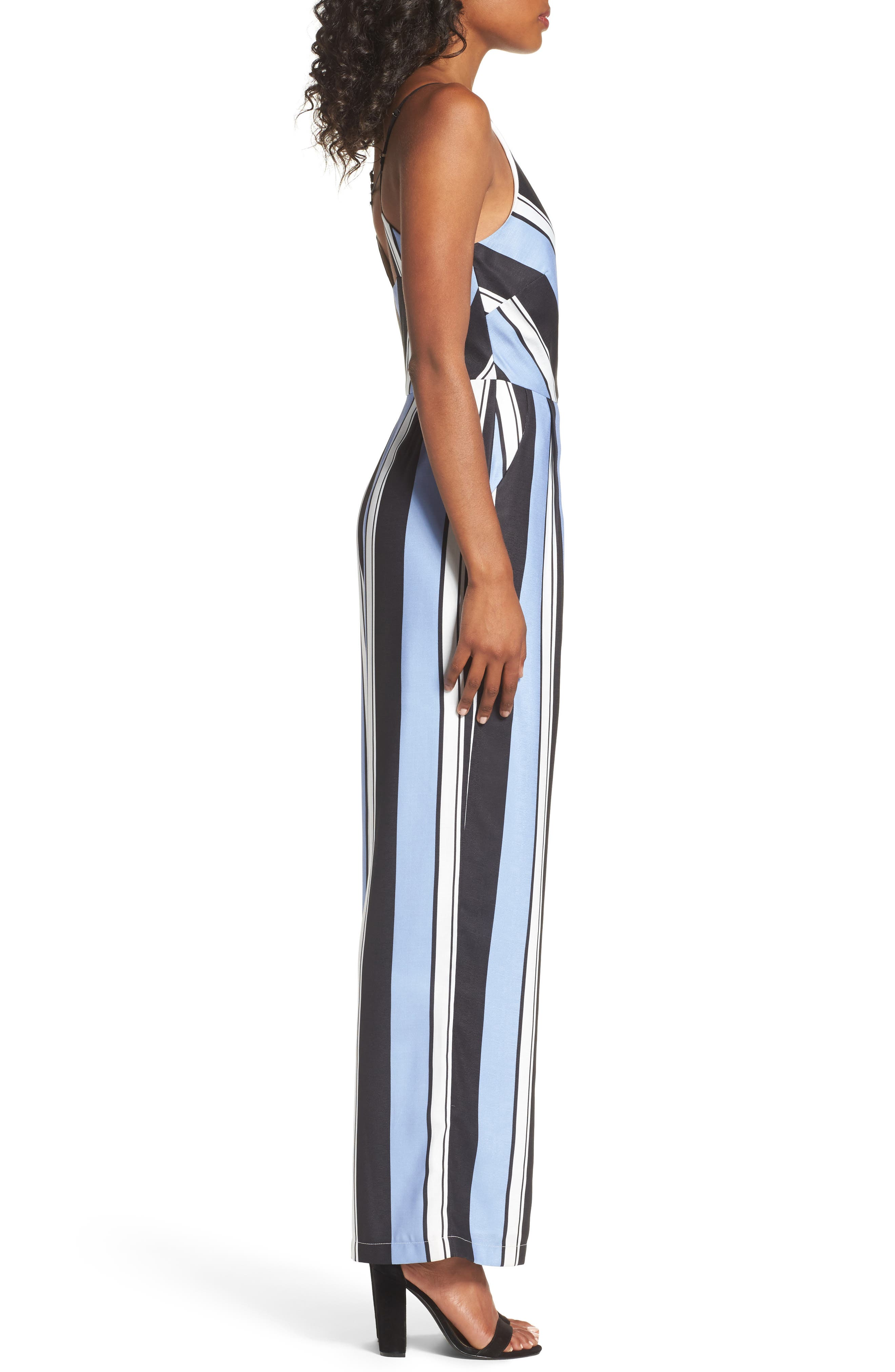 Alternate Image 3  - Adelyn Rae Stripe Crepe Jumpsuit