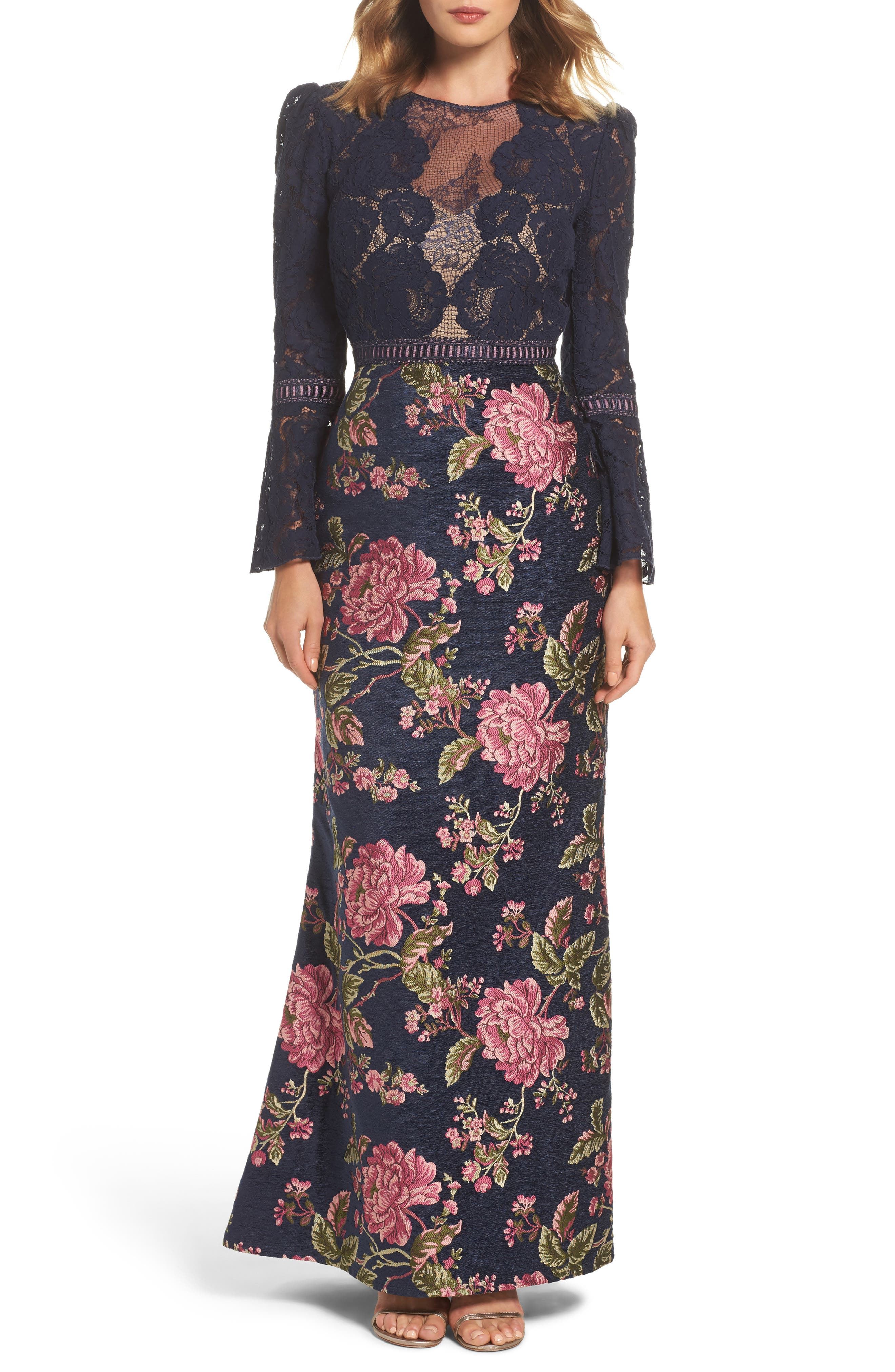 Lace Bodice Brocade Gown,                             Main thumbnail 1, color,                             Navy