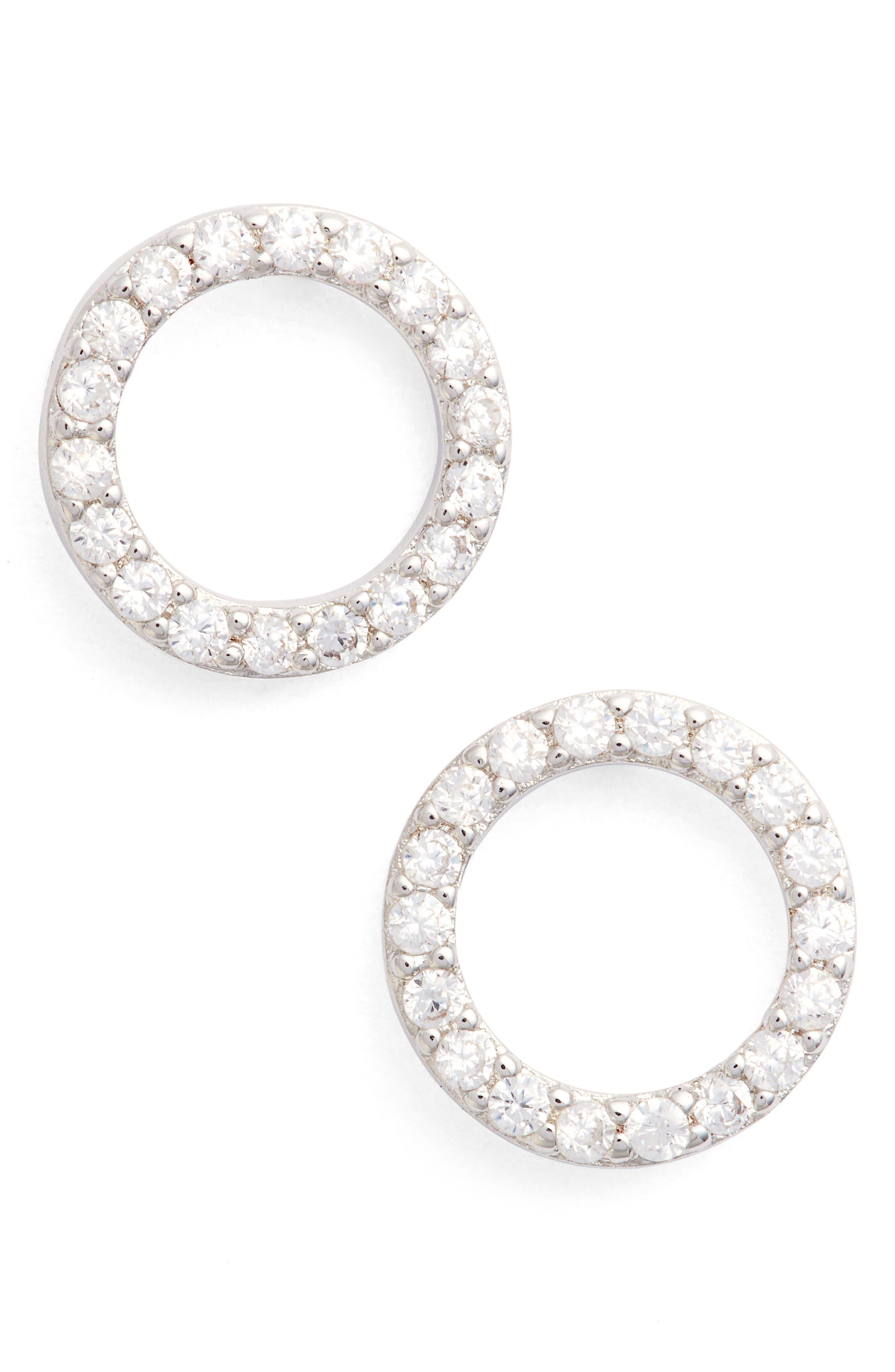 Betty Pavé Stud Earrings,                         Main,                         color, Silver/ Clear