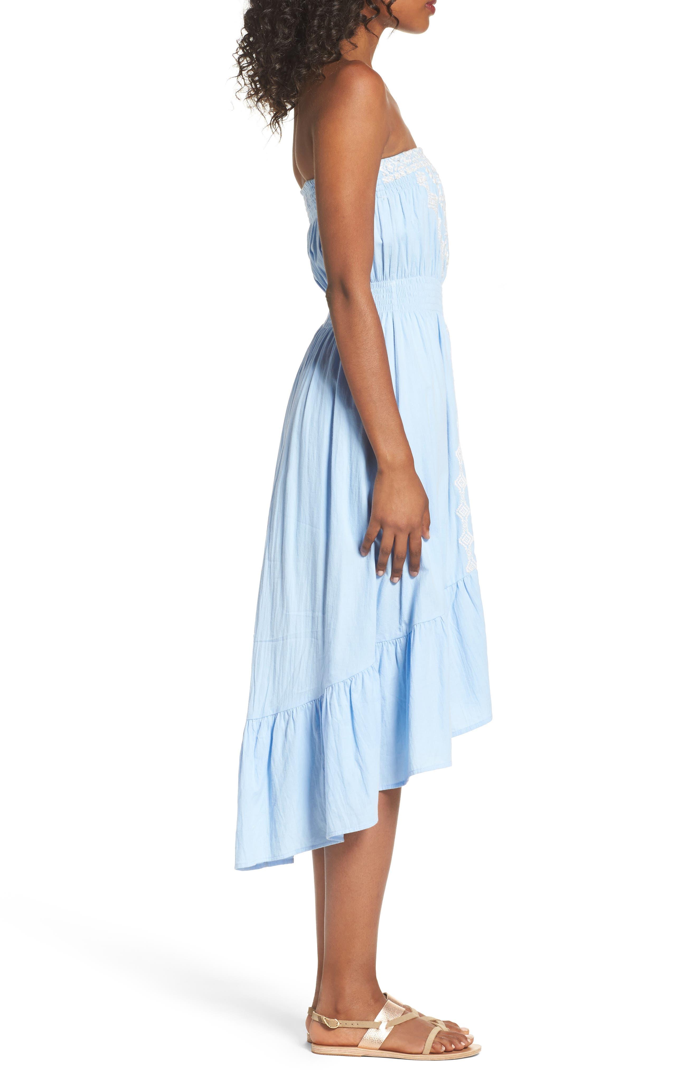 Strapless Midi Dress,                             Alternate thumbnail 3, color,                             Light Blue