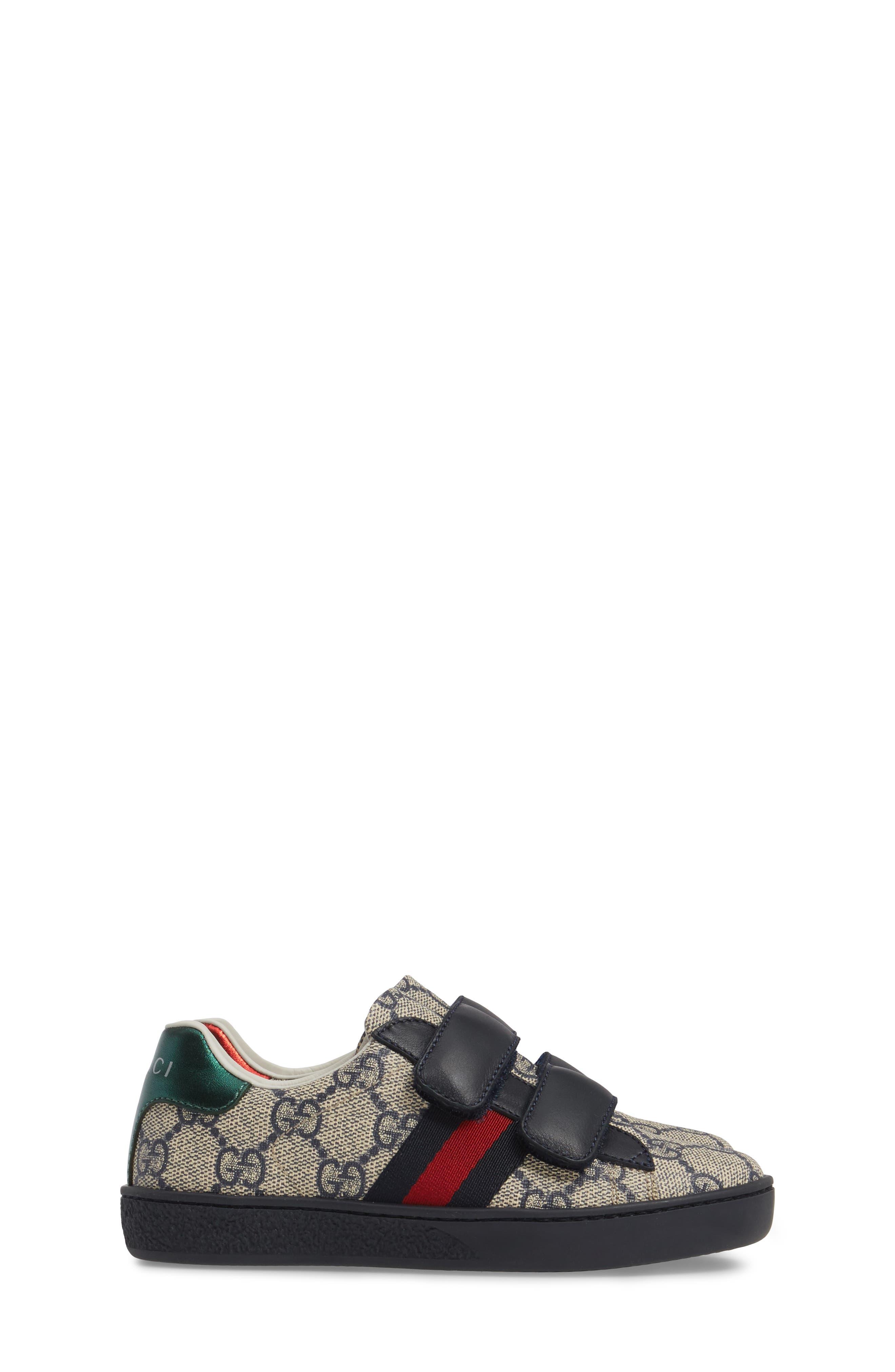New Ace Monogram Sneaker,                             Alternate thumbnail 4, color,                             Beige/ Blue