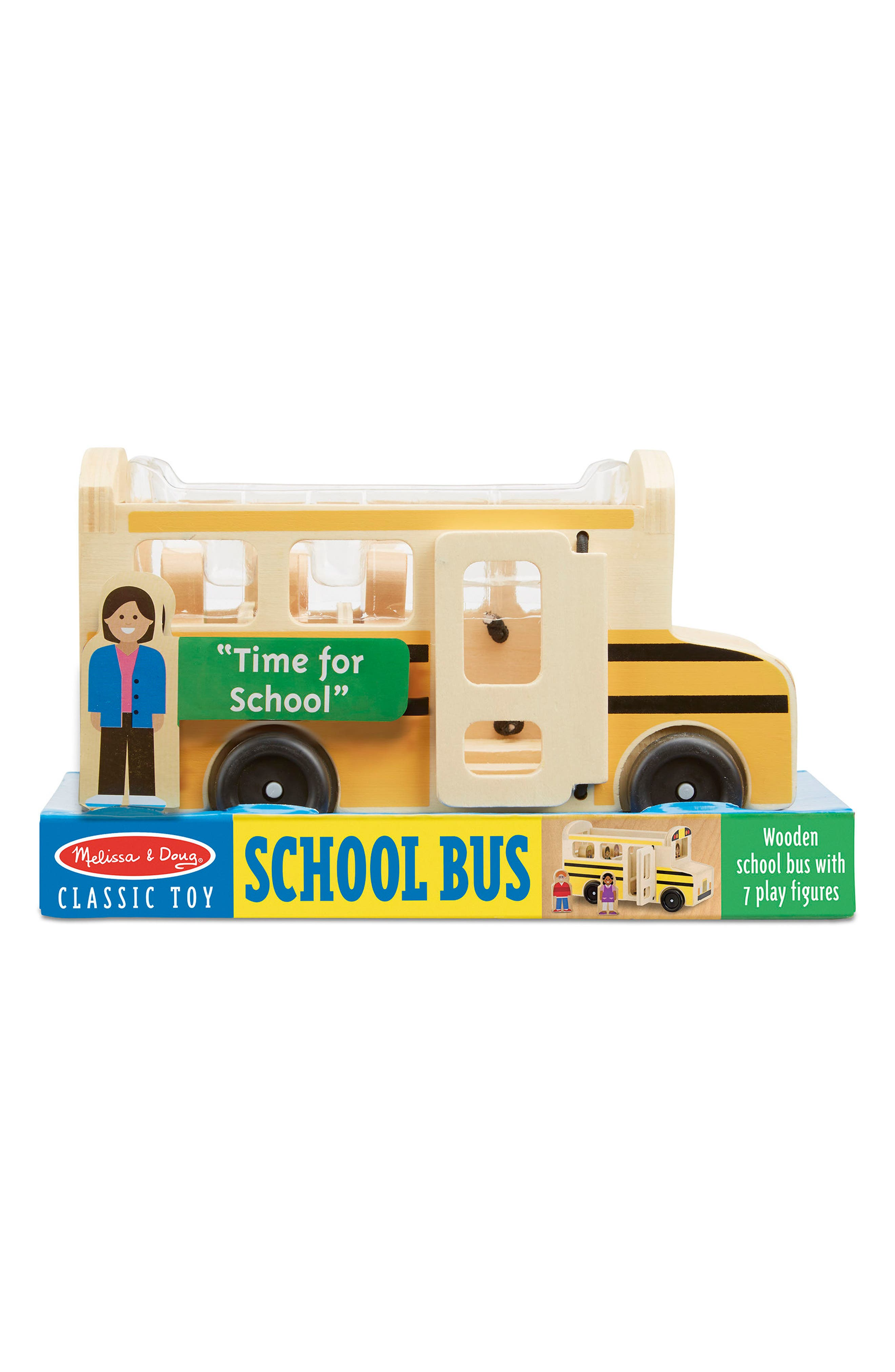 Classic School Bus Wooden Play Set,                         Main,                         color, Yellow