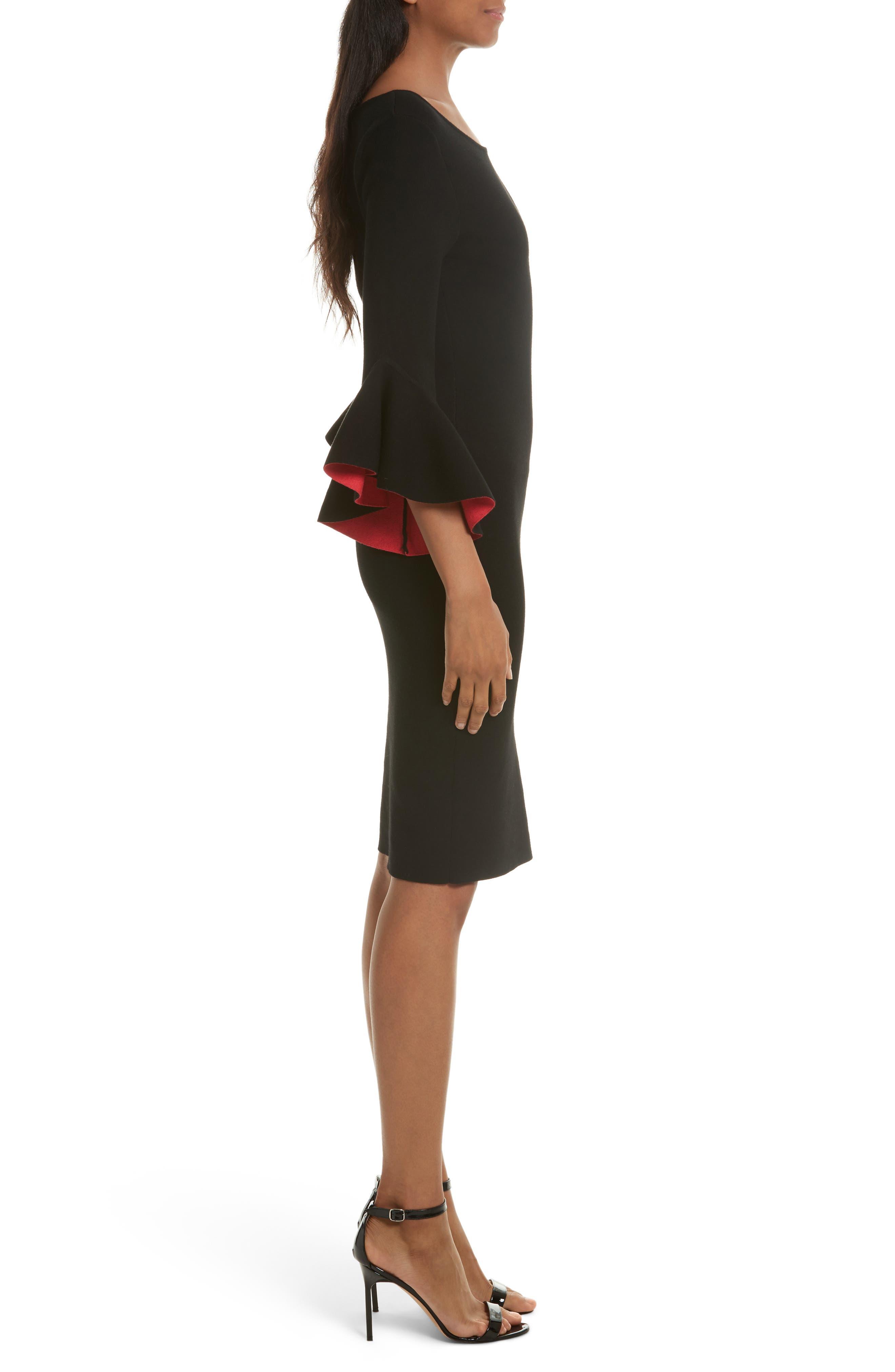 Contrast Lined Bell Sleeve Sheath Dress,                             Alternate thumbnail 3, color,                             Black/ Cherry