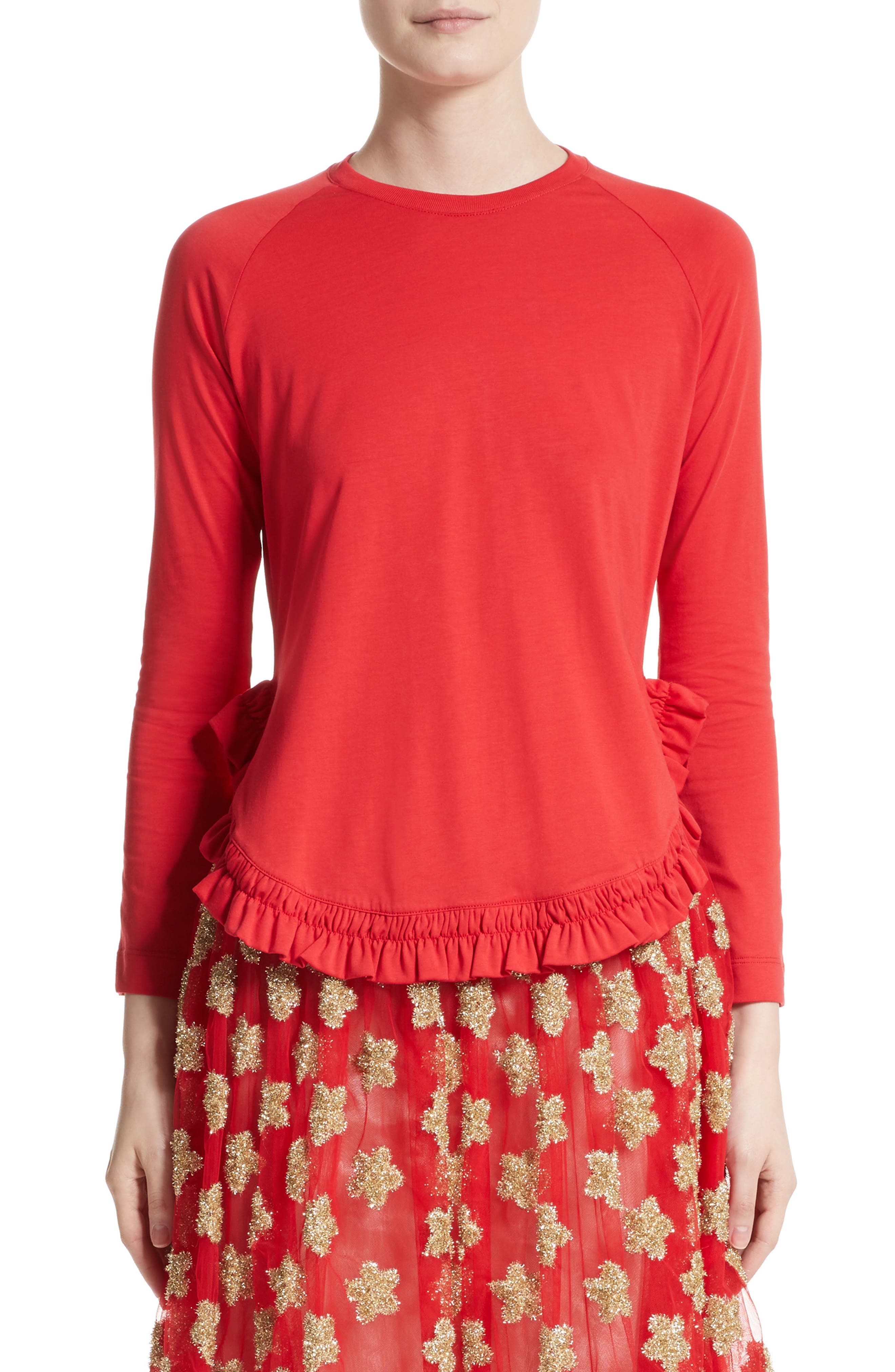 Frill Tee,                         Main,                         color, Red