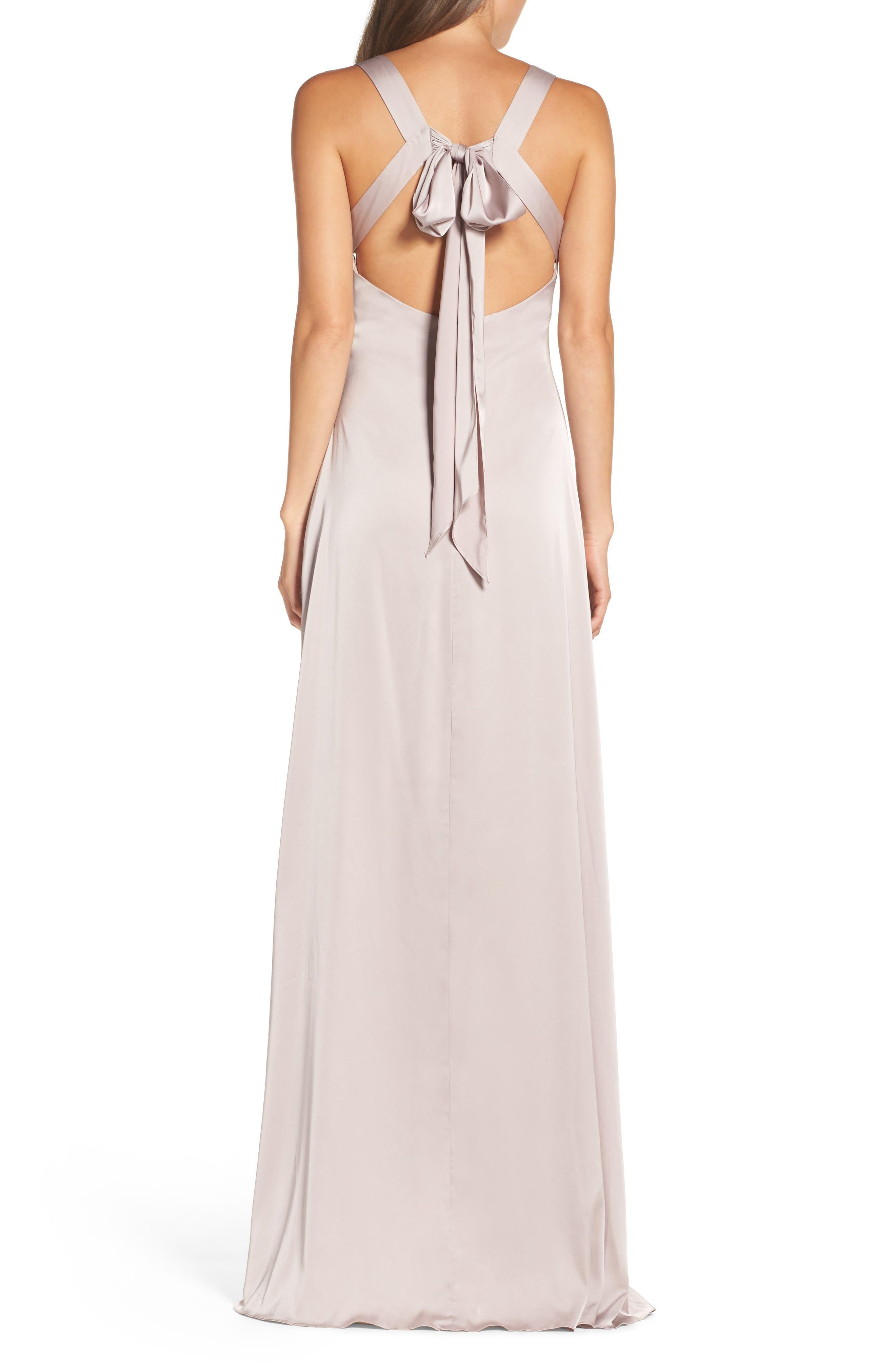 Alternate Image 3  - Monique Lhuillier Bridesmaids Dasha Tie Back Sateen Gown