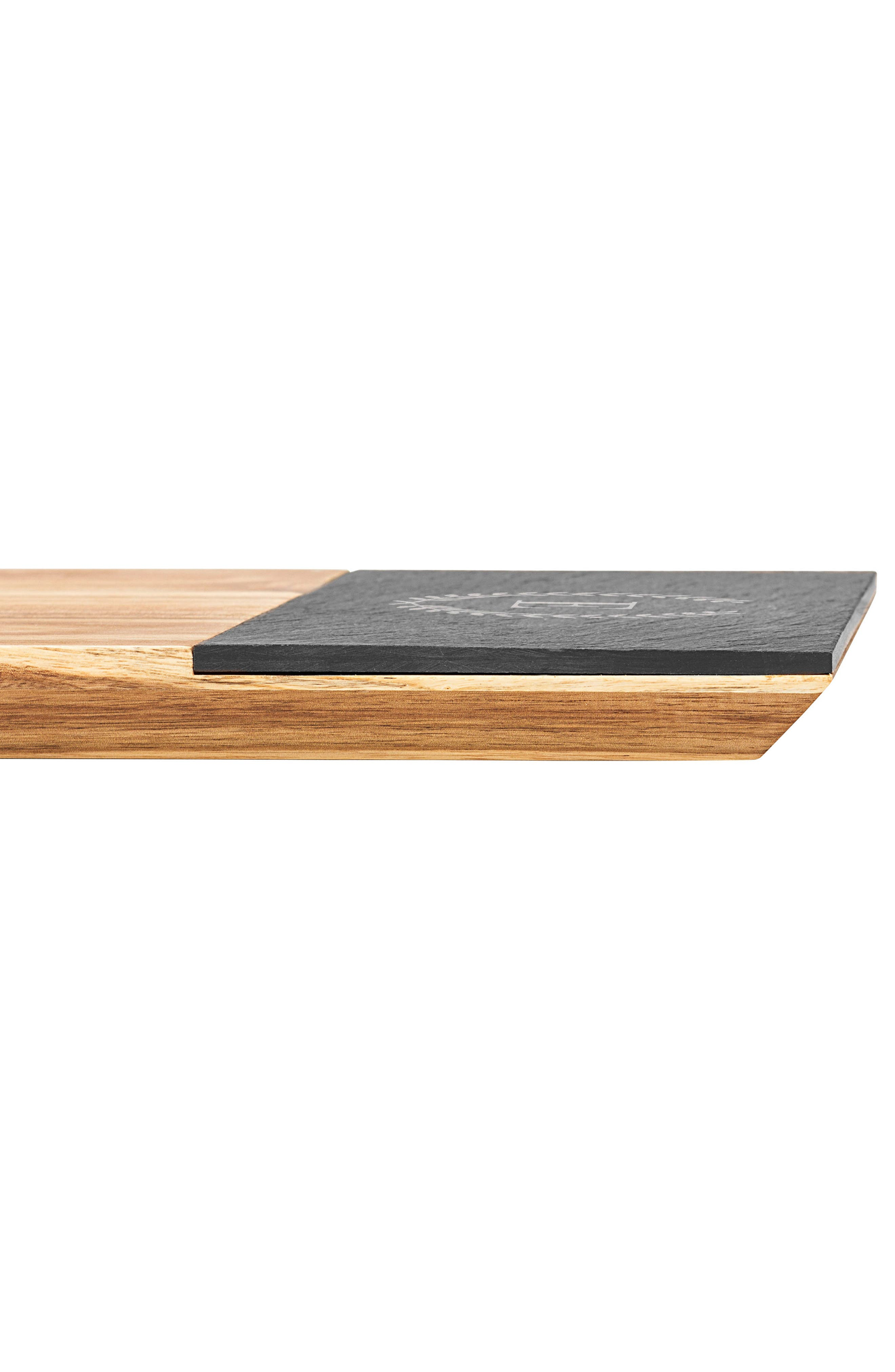 Monogram Acacia Wood Cheese Board,                             Alternate thumbnail 5, color,