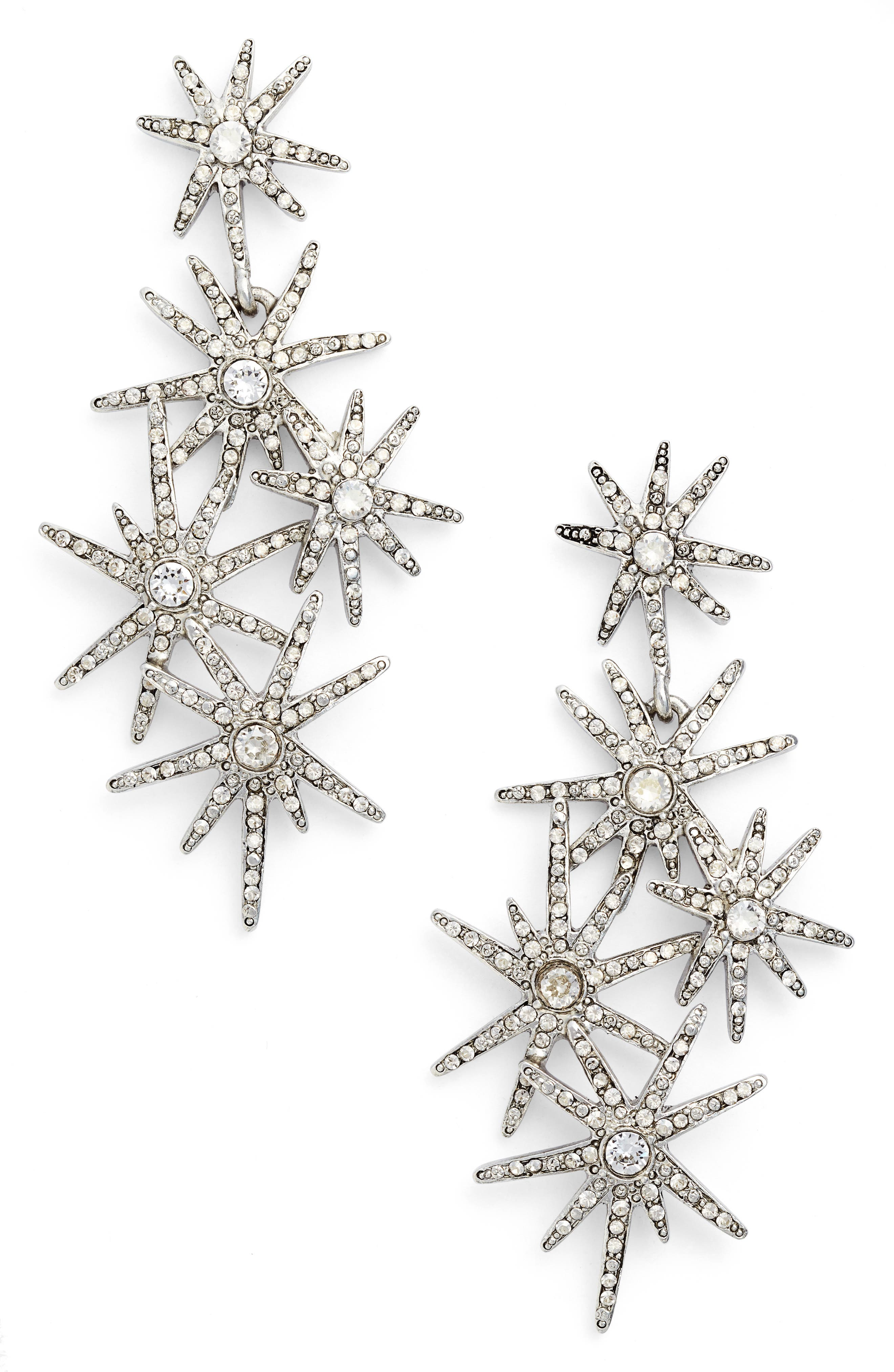 Oscar de la Renta Crystal Fireworks Drop Earrings