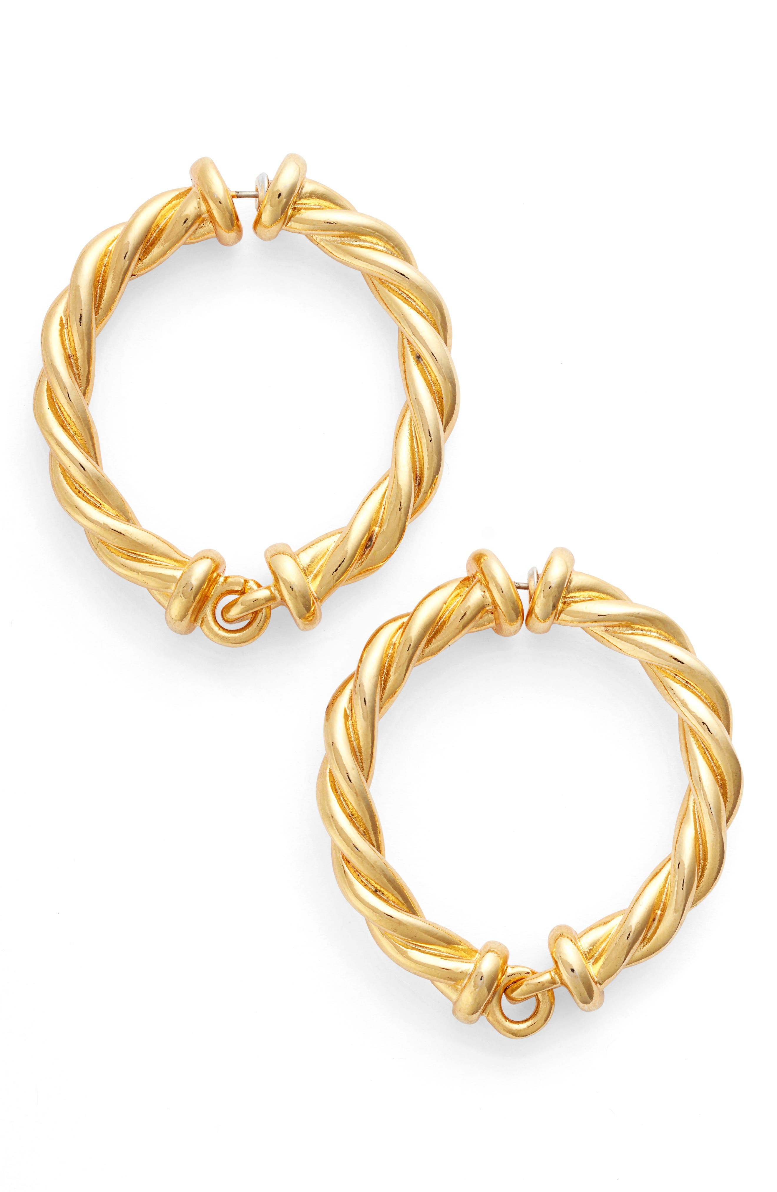 Oscar de la Renta Twisted Rope Hoop Earrings