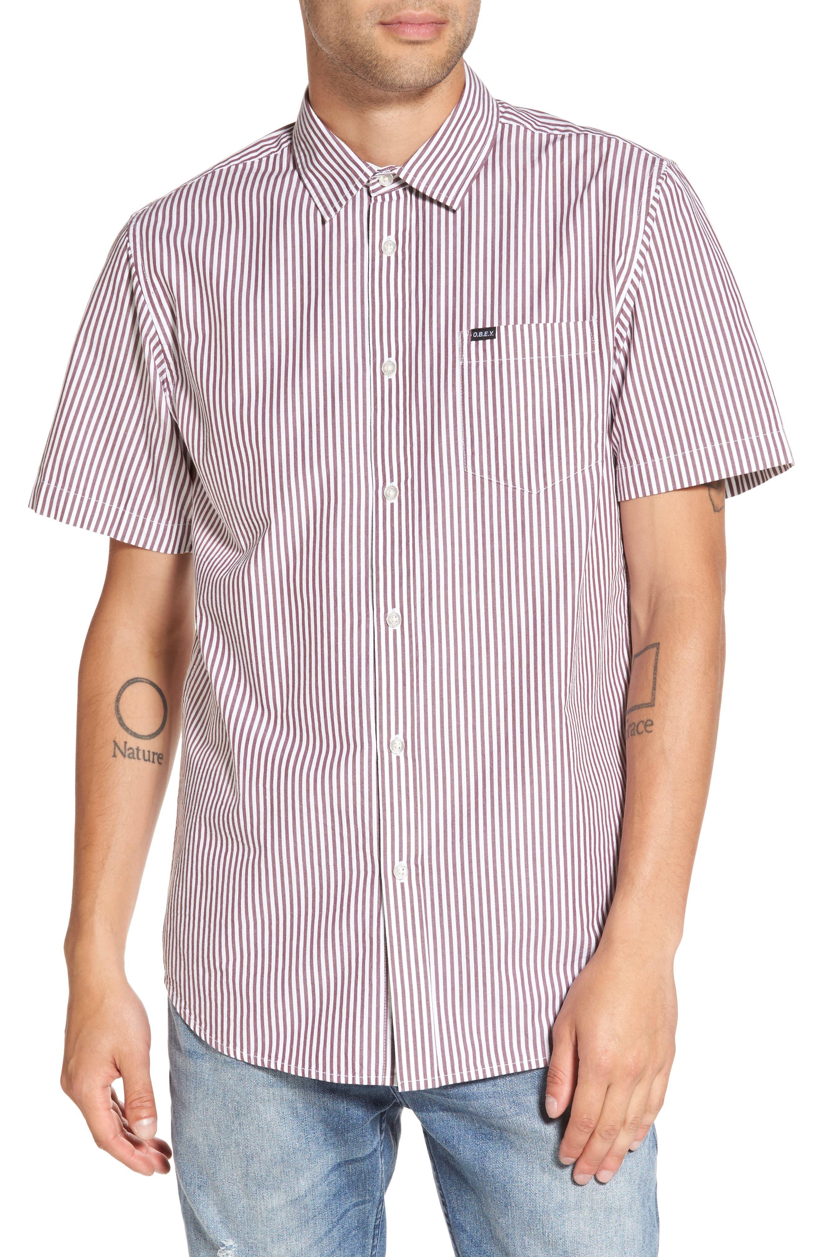Adario Stripe Woven Shirt,                         Main,                         color, Eggplant