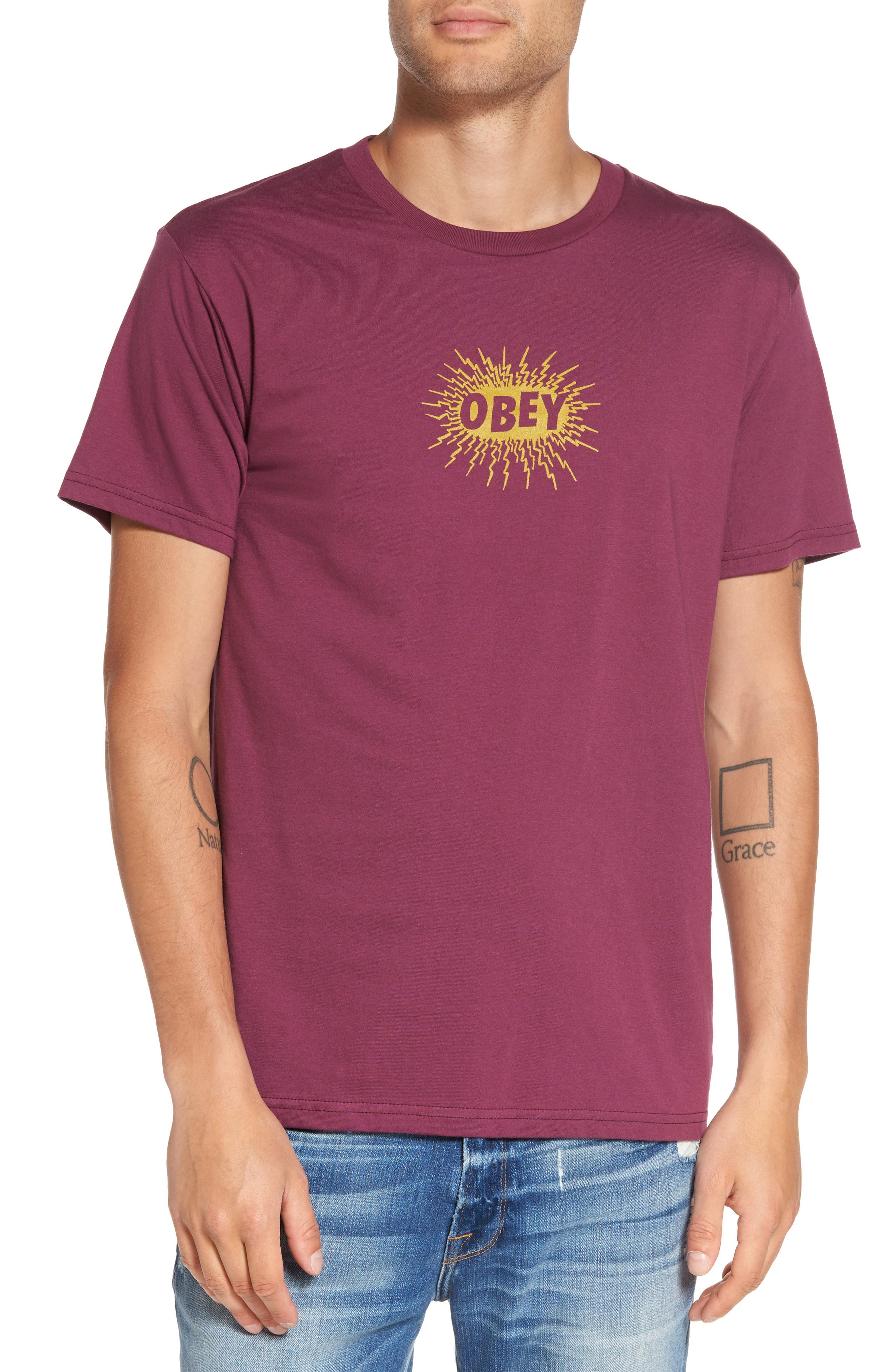 Spazz Graphic T-Shirt,                         Main,                         color, Raspberry