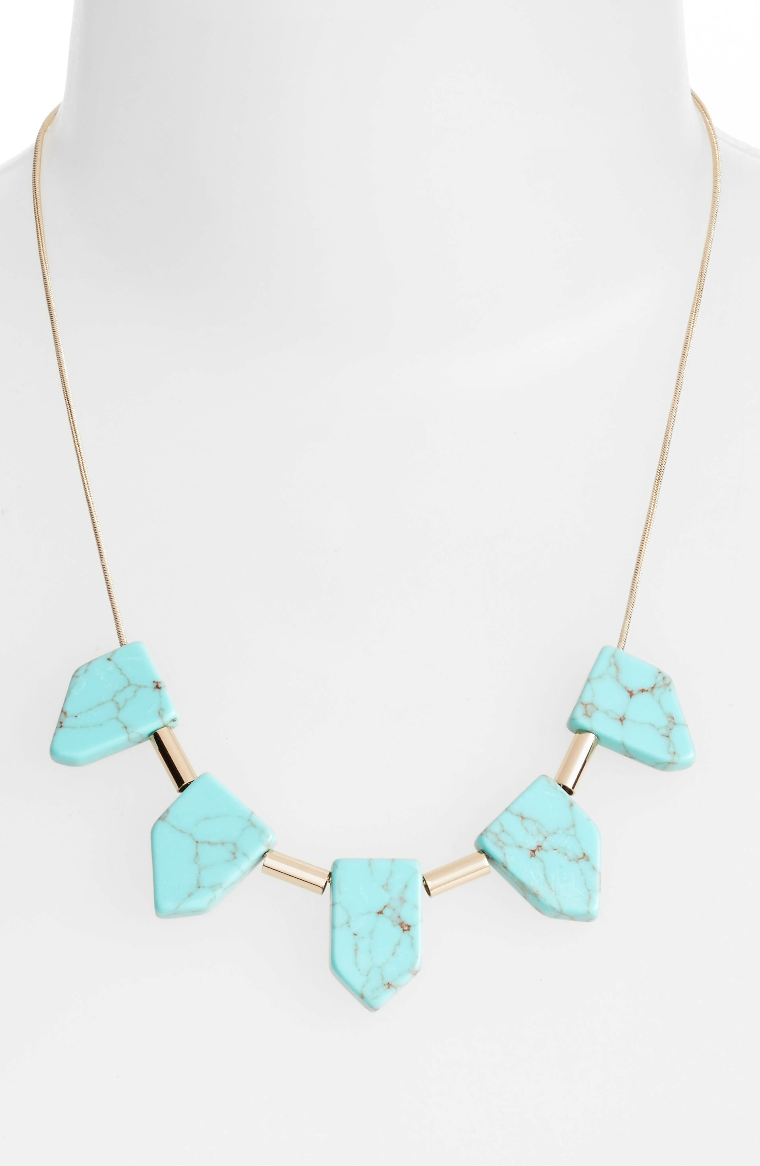 Frontal Necklace,                             Alternate thumbnail 2, color,                             Turquoise