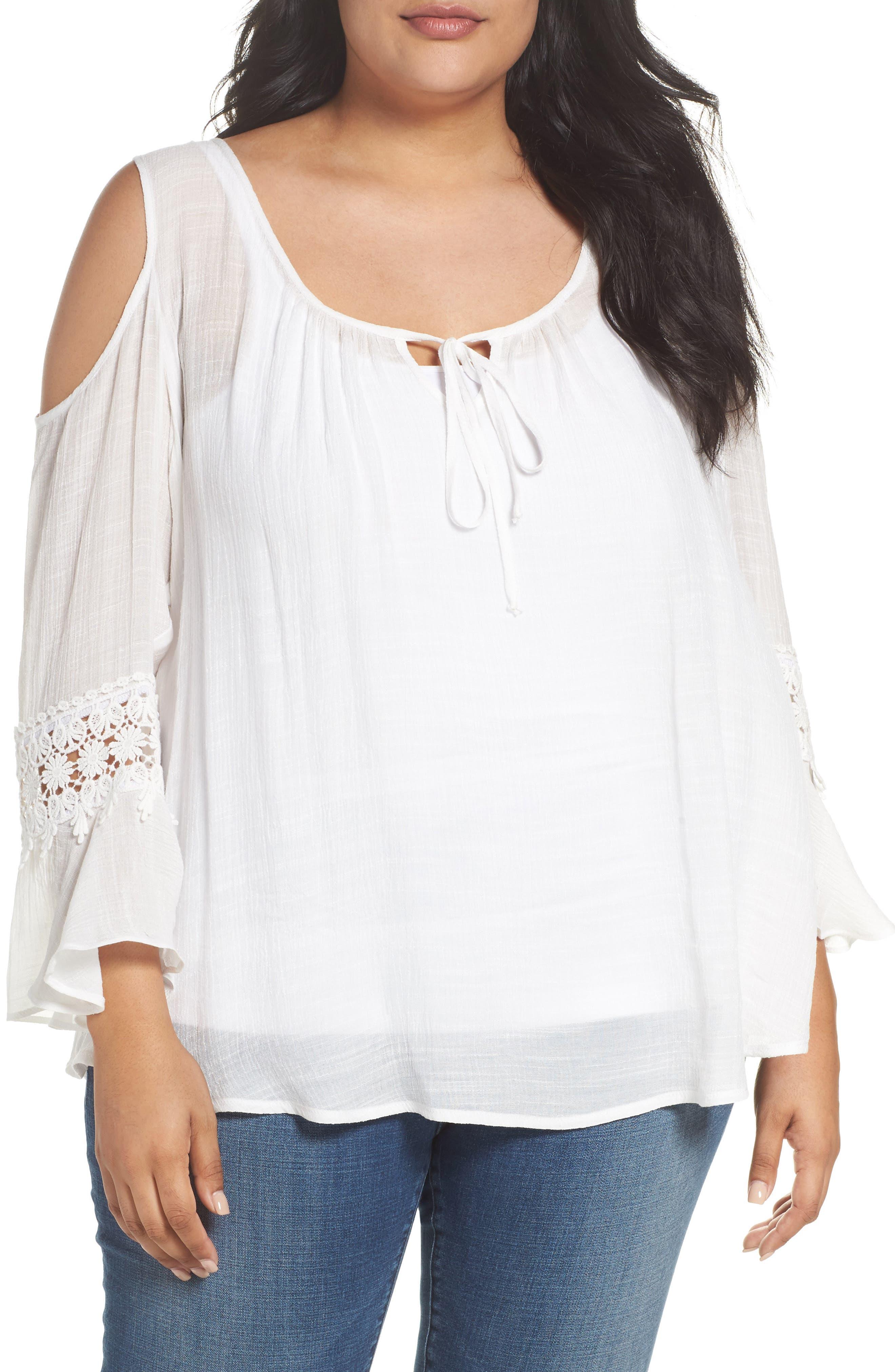 Bobeau Cold Shoulder Blouse (Plus Size)