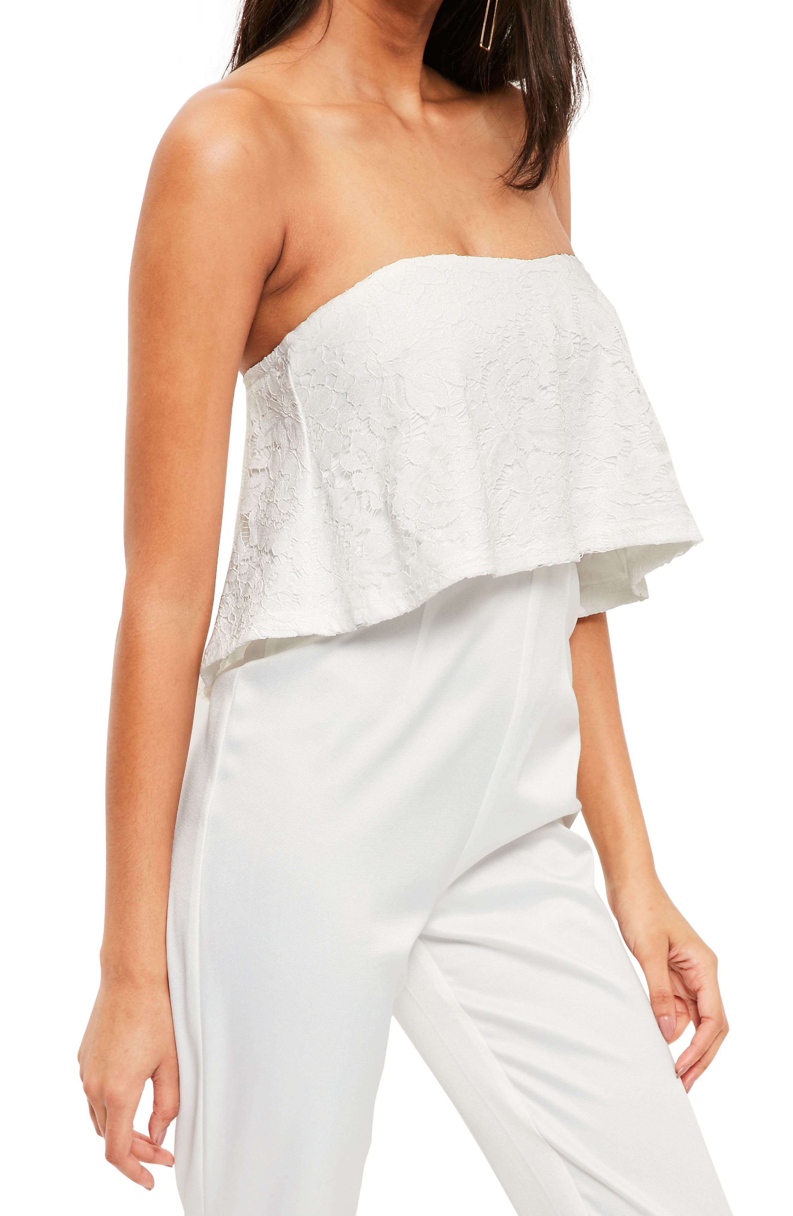 Lace Ruffle Strapless Jumpsuit,                             Alternate thumbnail 3, color,                             White